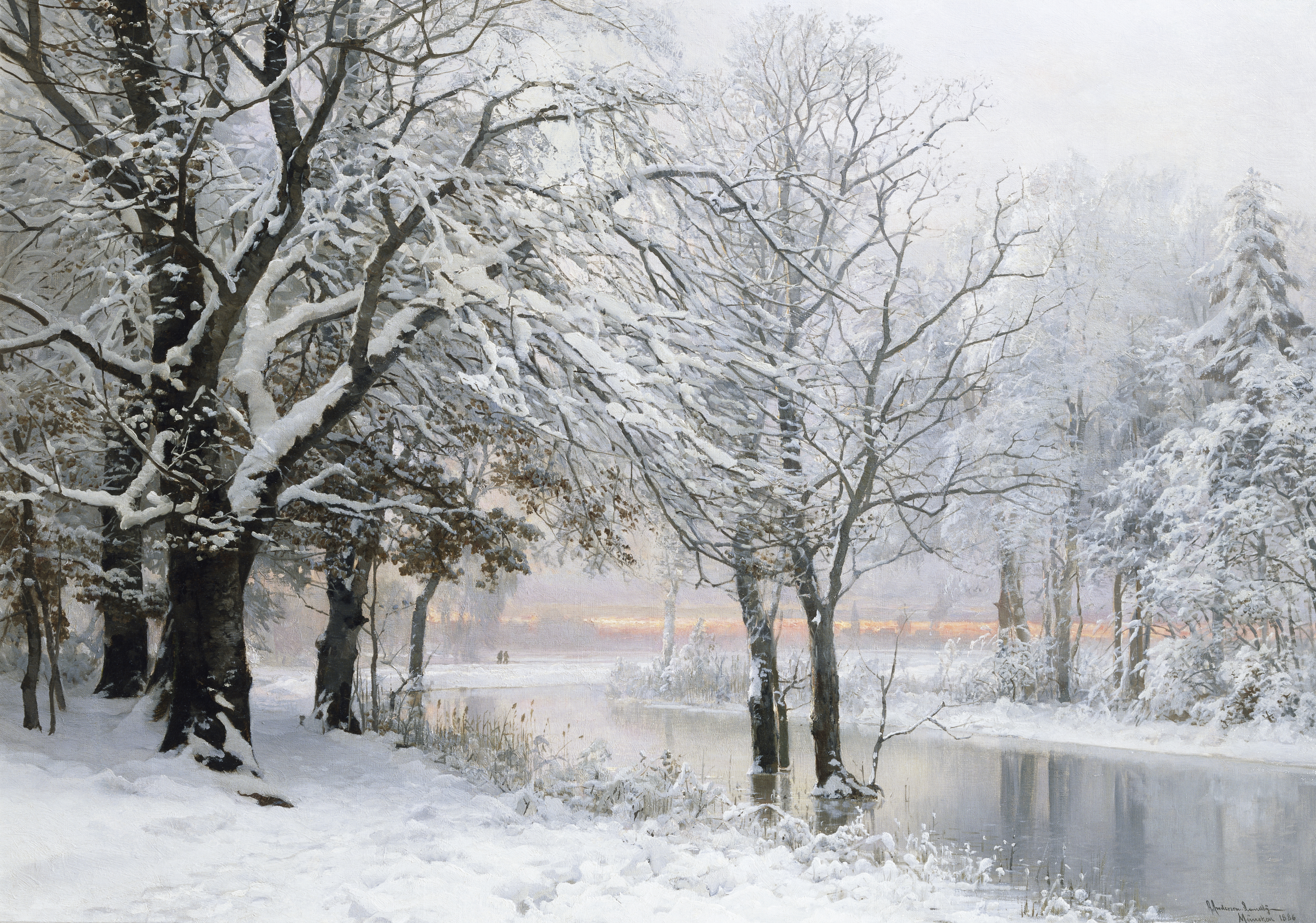 A painting of a quiet wintertime scene near a lake with a faint glow of orange sunlight in the distance.