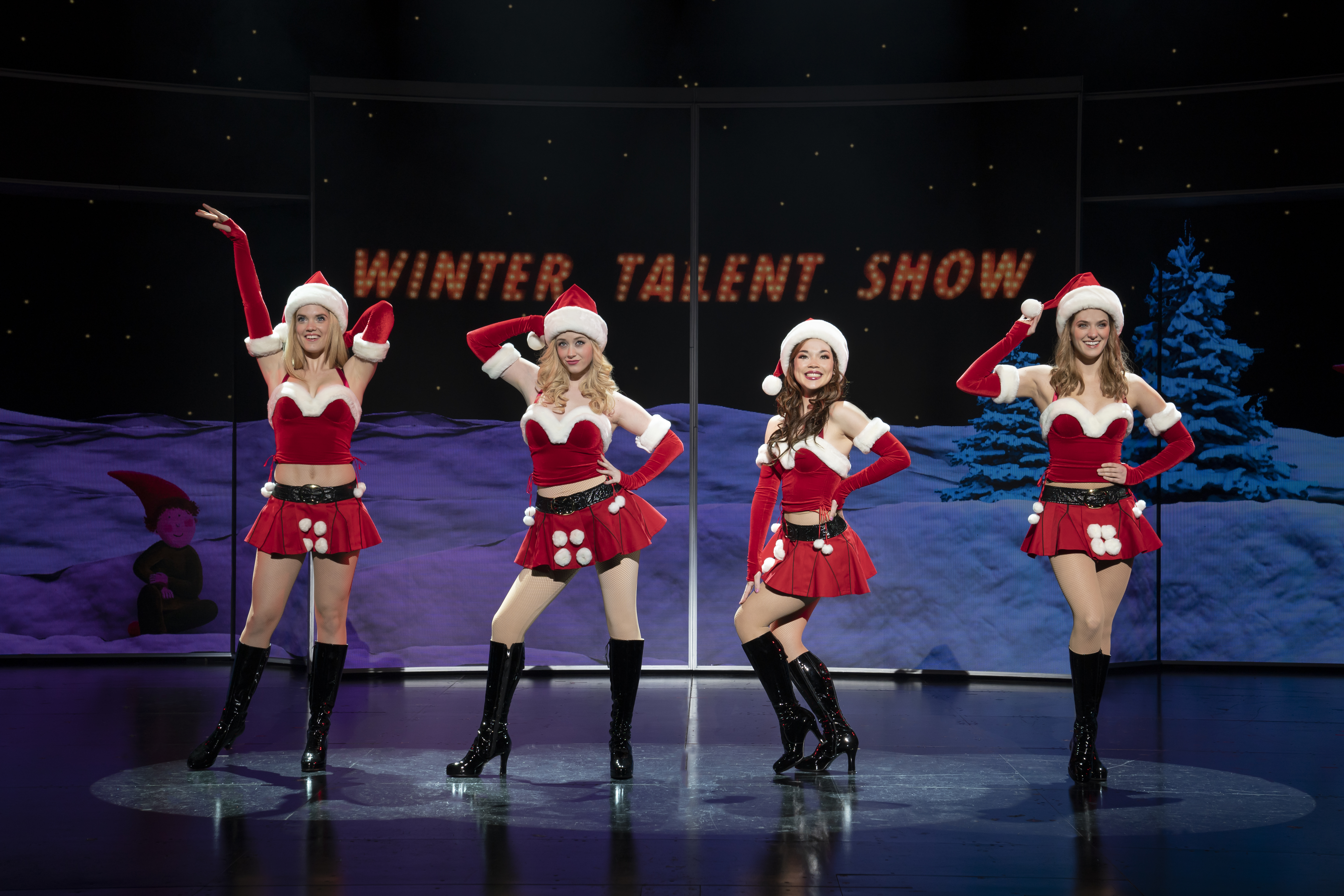 """Pictured (from left): Jonalyn Saxer (Karen Smith), Mariah Rose Faith (Regina George), Megan Masako Haley (Gretchen Wieners), and Danielle Wade (Cady Heron) in the National Touring Company of """"Mean Girls."""""""