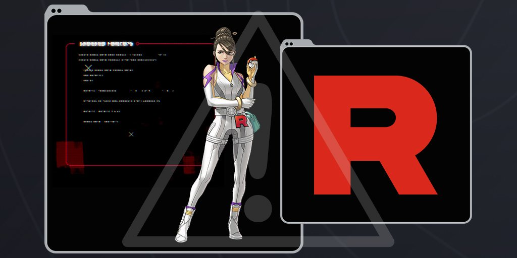 A woman in a white uniform with the Team Rocket Logo stands in the middle of a data screen