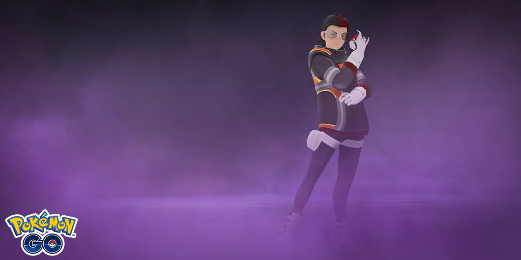 Team Rocket leader Arlo stands in purple fog, readying to battle