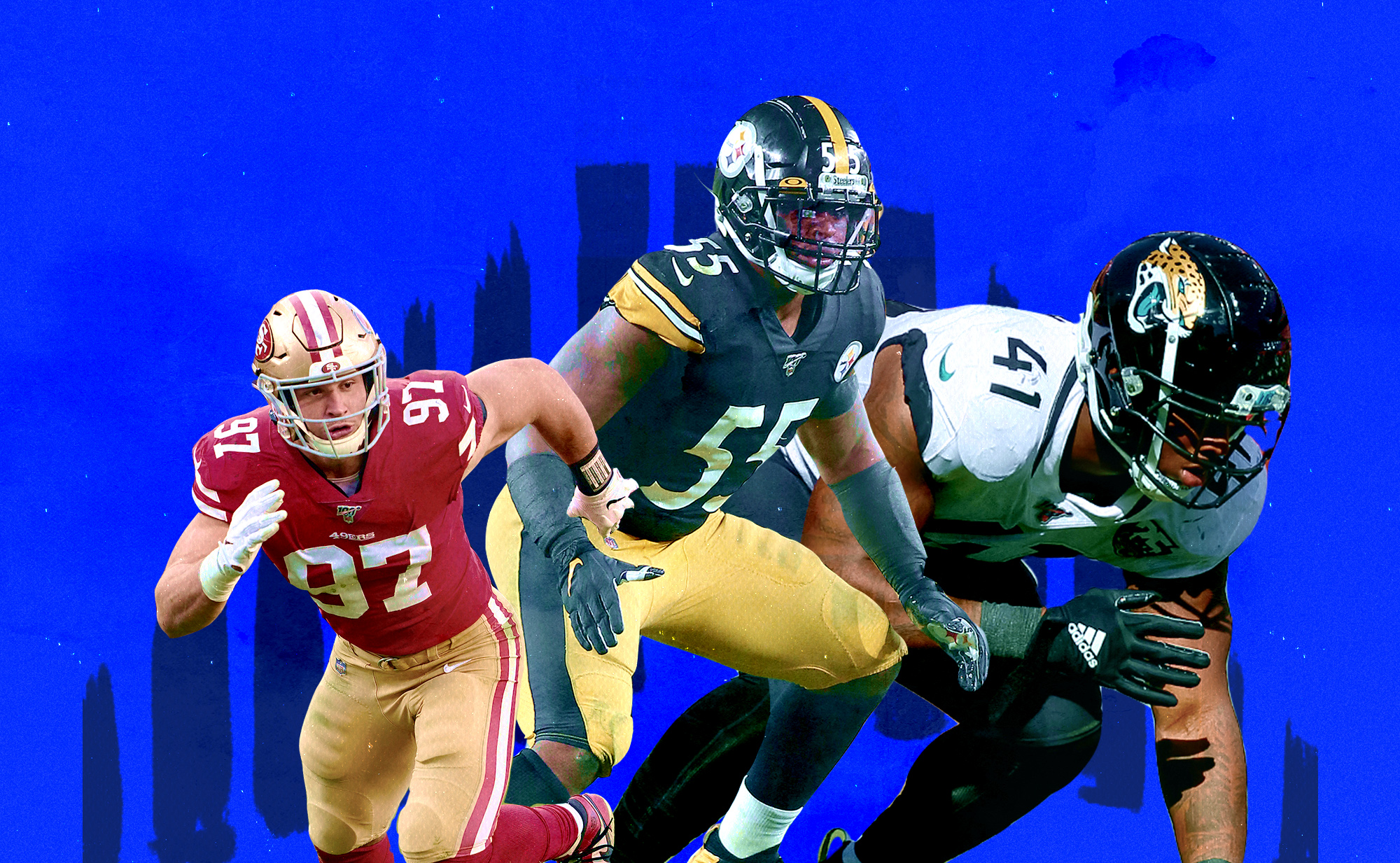 A collage of rookies Nick Bosa (49ers DE), Devin Bush (Steelers LB), and Josh Allen (Jaguars DE)