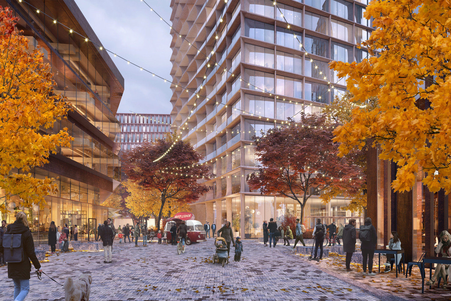 Rendering of a public square outside of an office complex.