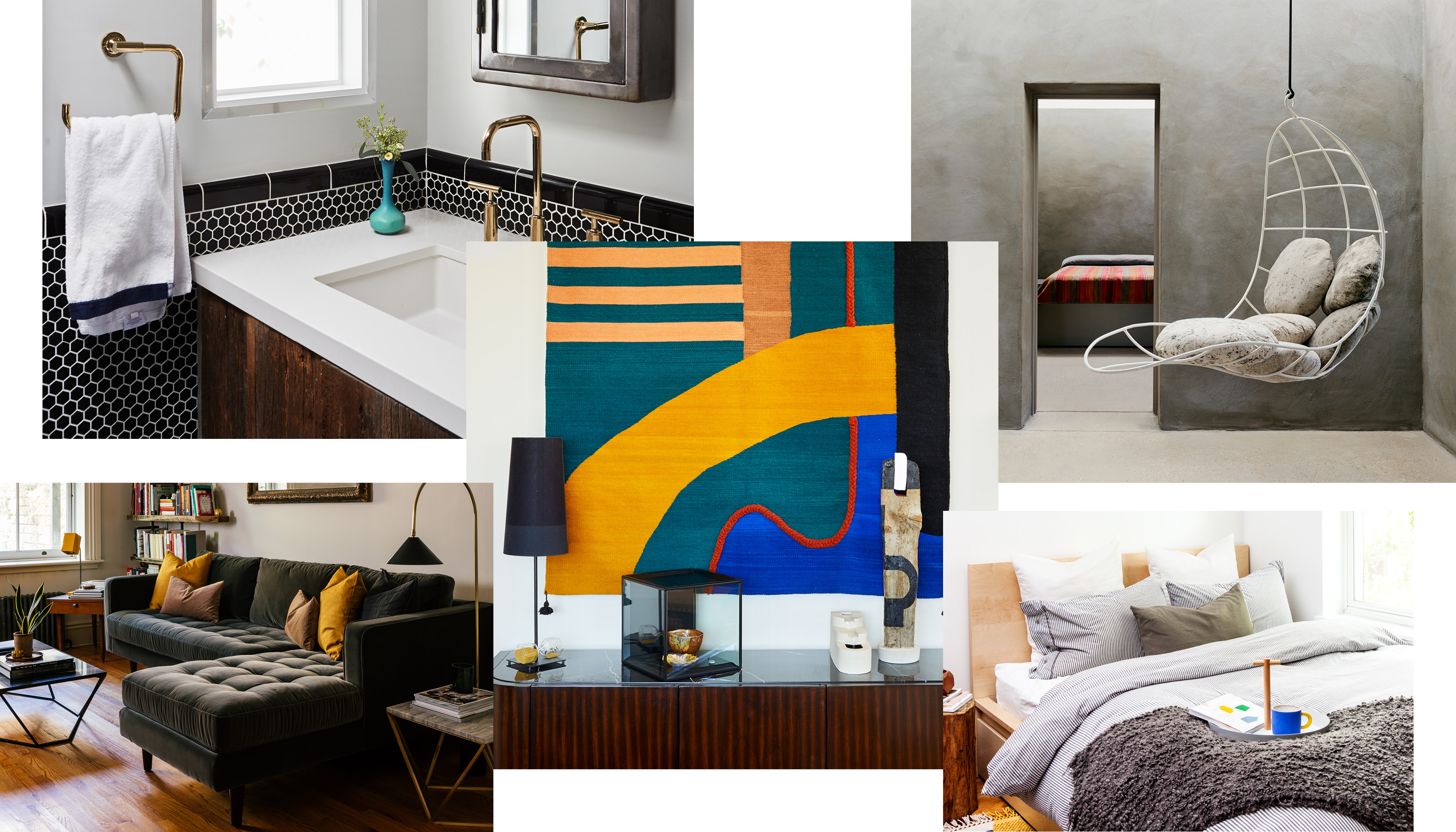 A collage of photographs featuring a bathroom with black and white penny tile, white sink, and brass fixtures; a minimalist bedroom with textured gray walls; a bed with gray duvet, chunky knitted blanket, and tray with a blue mug; a living room with a gray tufted sofa; and a wood consile with a teal and yellow wall hanging above it.