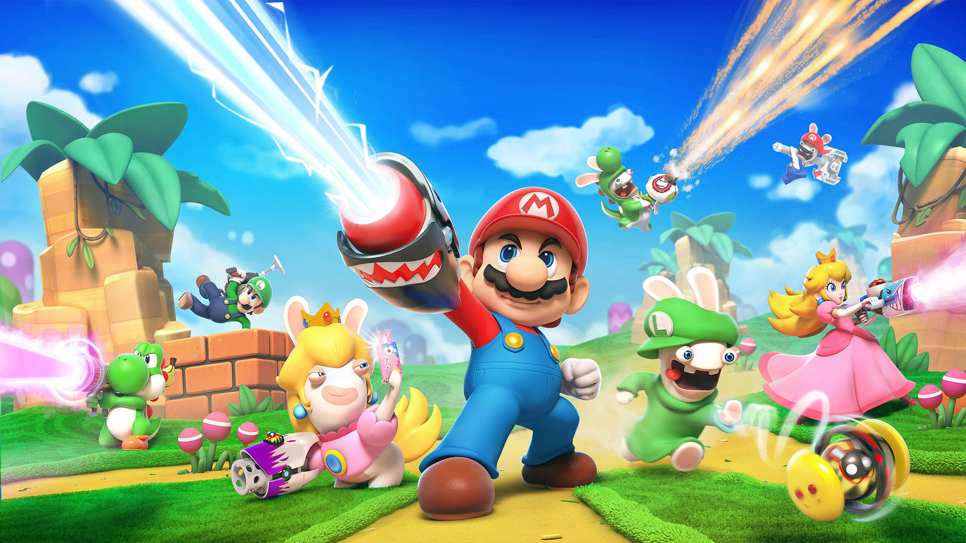 This artwork for Mario + Rabbids Kingdom Battle shows Mario shooting some sort of laser gun that is attached to his arm. Behind him, various rabbids and Mario characters such as Princess Peach and Yoshi are shooting their own weapons and leaping over piec