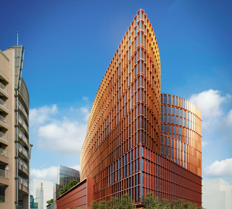 A rendering of a wedge-shaped building with a scalloped surface and rows of glass windows.