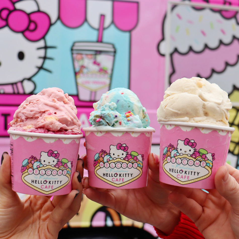 Ice cream now being served at the Hello Kitty Cafe truck pop-up at the Las Vegas North Premium Outlets.