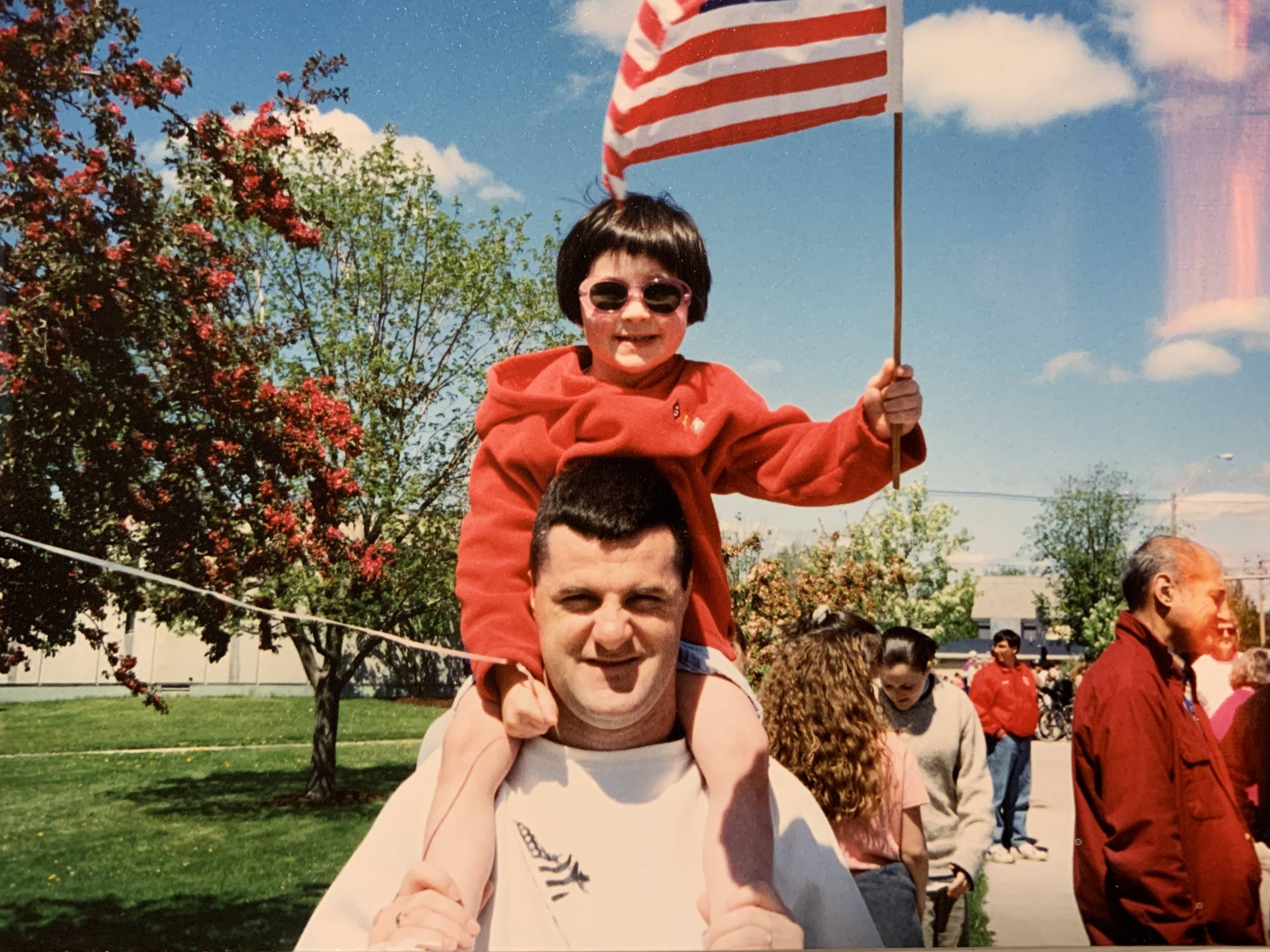 Dale Saran and his daughter Rebecca on the Fourth of July 1997. After a 20-year career in the Marines, Saran intended to transfer his Post-9/11 GI Bill education benefit to his daughters. It worked — until it didn't.