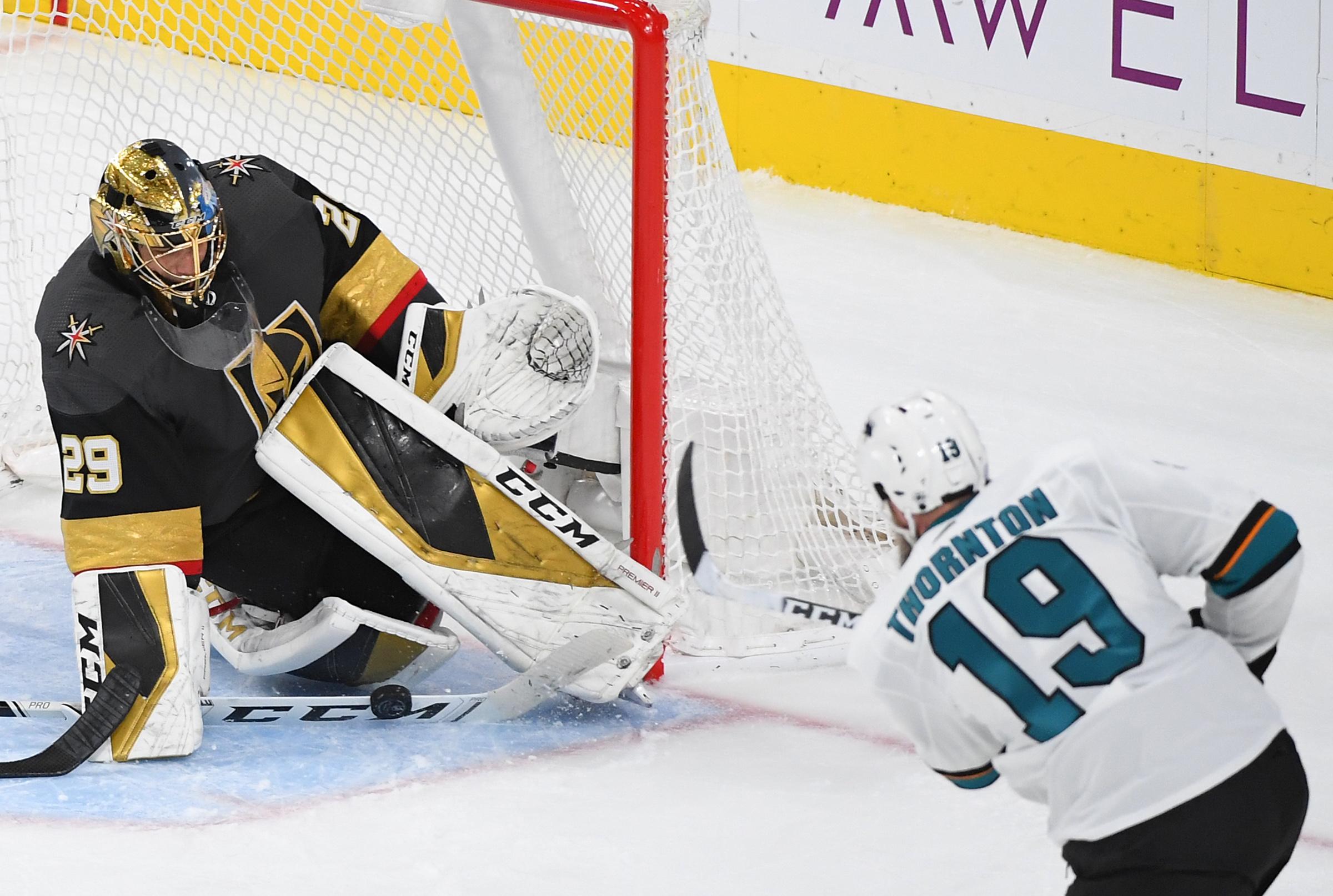 Nov 21, 2019; Las Vegas, NV, USA; Vegas Golden Knights goaltender Marc-Andre Fleury (29) makes a save against San Jose Sharks center Joe Thornton (19) during the third period at T-Mobile Arena.