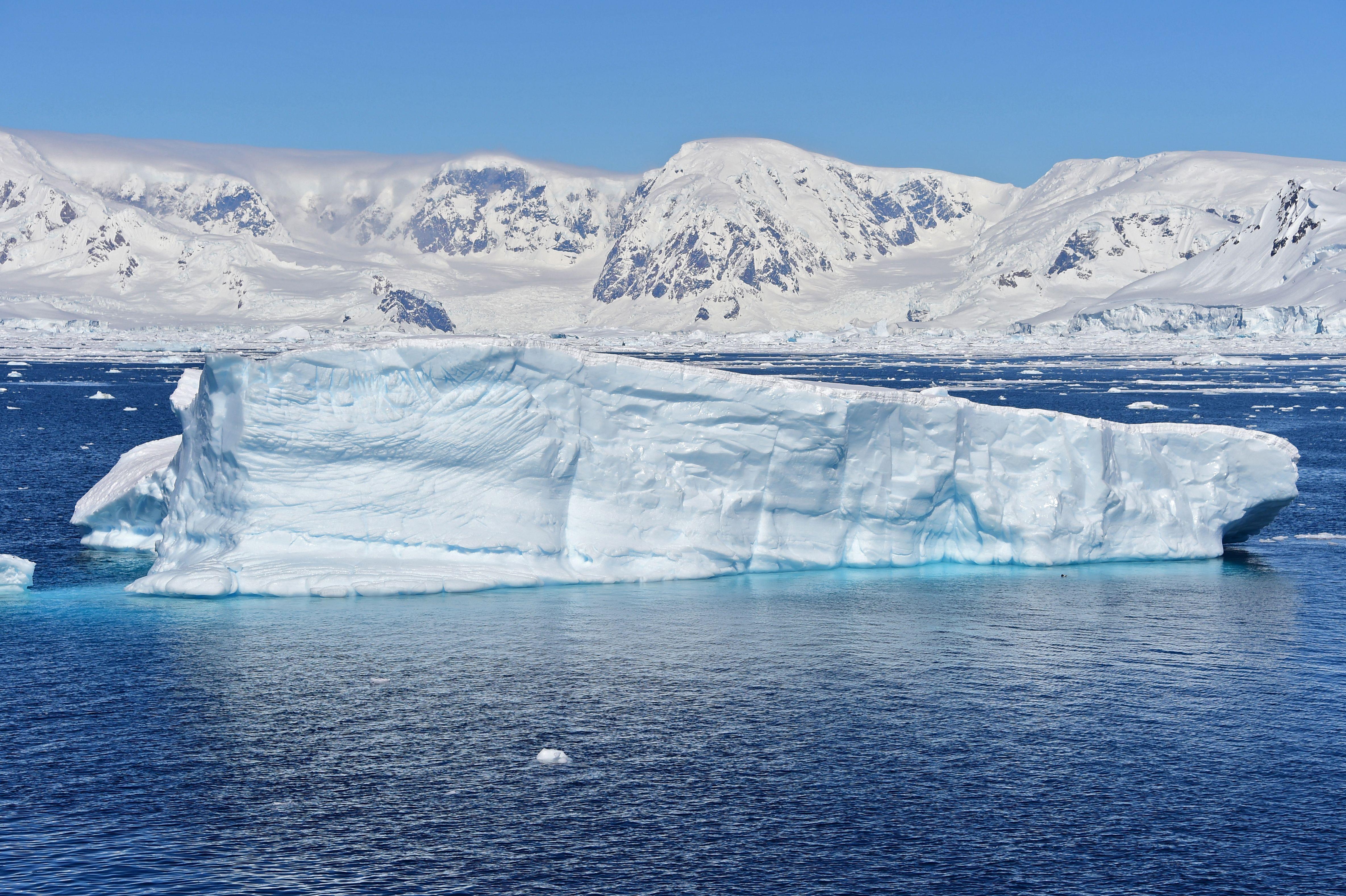View of a glacier at Chiriguano Bay in South Shetland Islands, Antarctica, on November 7, 2019.