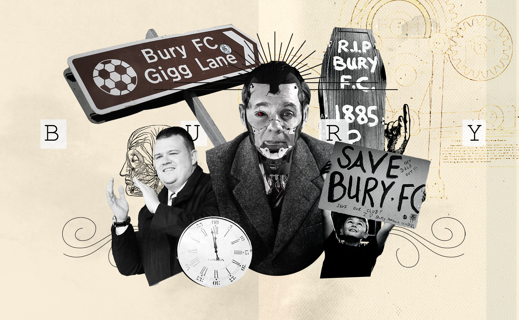 """Collage of various elements in an avant-garde style. A child holding a """"Save Bury FC sign"""" and a coffin with  RIP Bury FC"""" painted on it are some of them."""