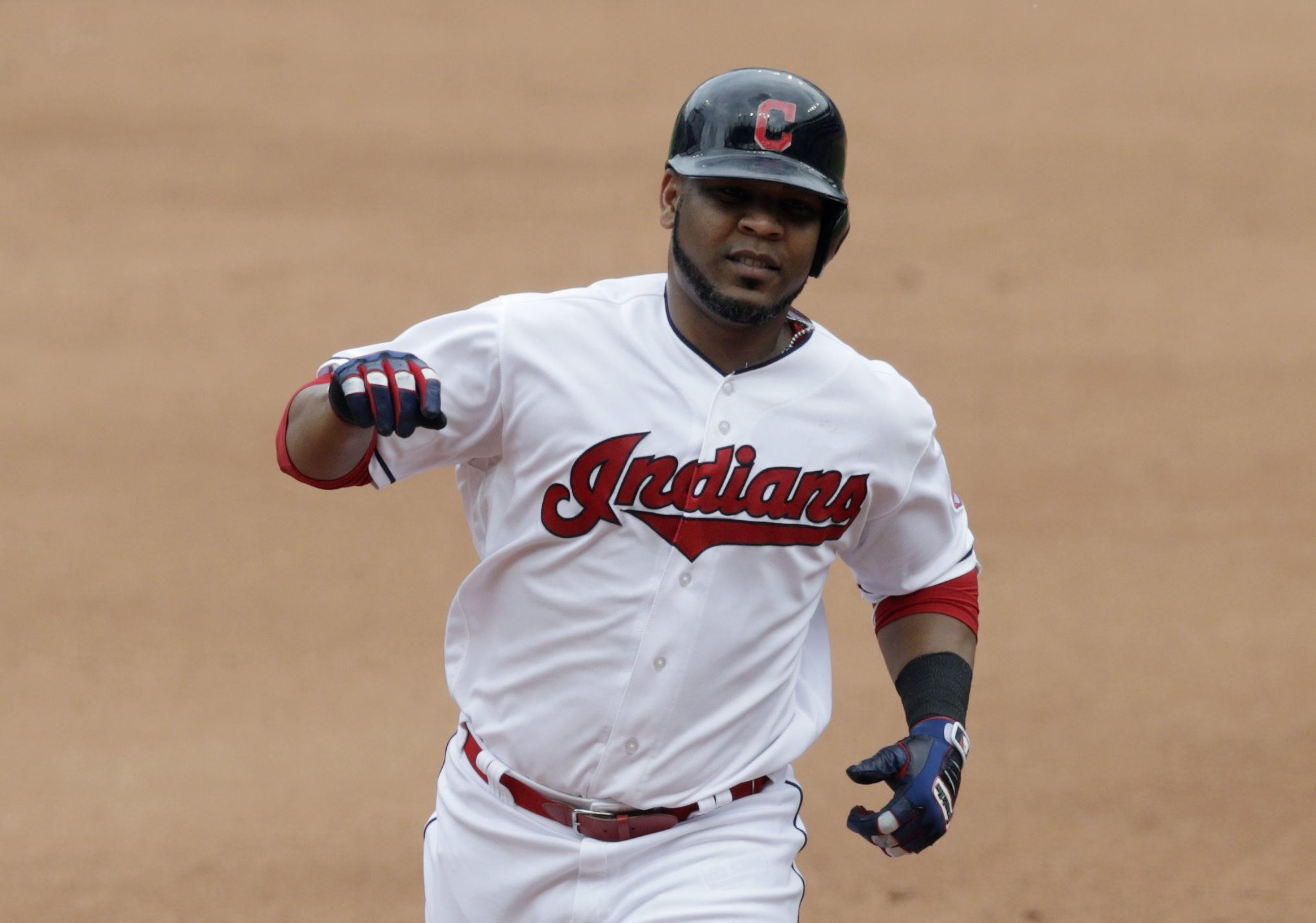 Edwin Encarnacion circles the bases after hitting a solo home run off White Sox relief pitcher Chris Volstad on May 30, 2018, in Cleveland. (AP Photo/Tony Dejak)