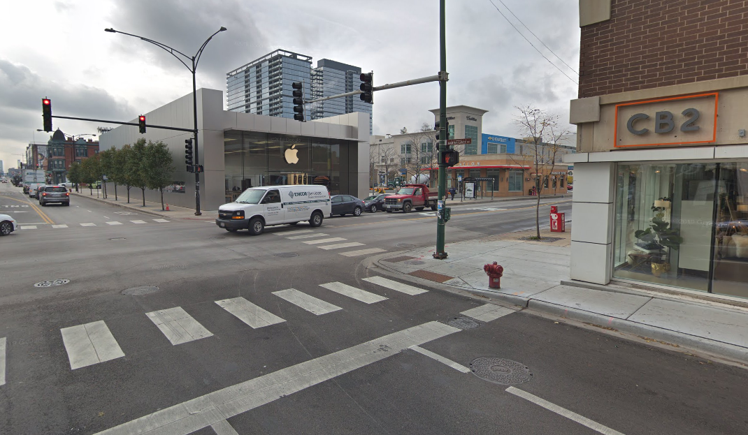 The intersection of North Avenue and Halsted Street