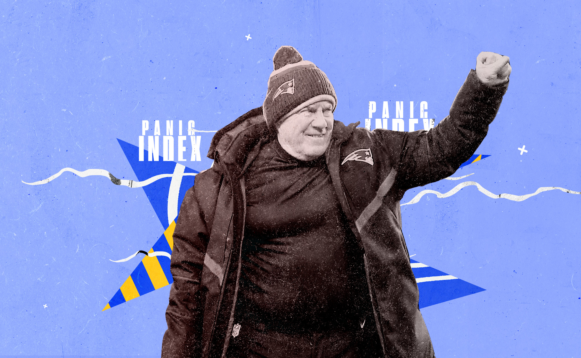 """Patriots coach Bill Belichick looks to his right and smiles with his right fist raised in the air, superimposed on a blue, white, and yellow background with the words """"PANIC INDEX"""""""