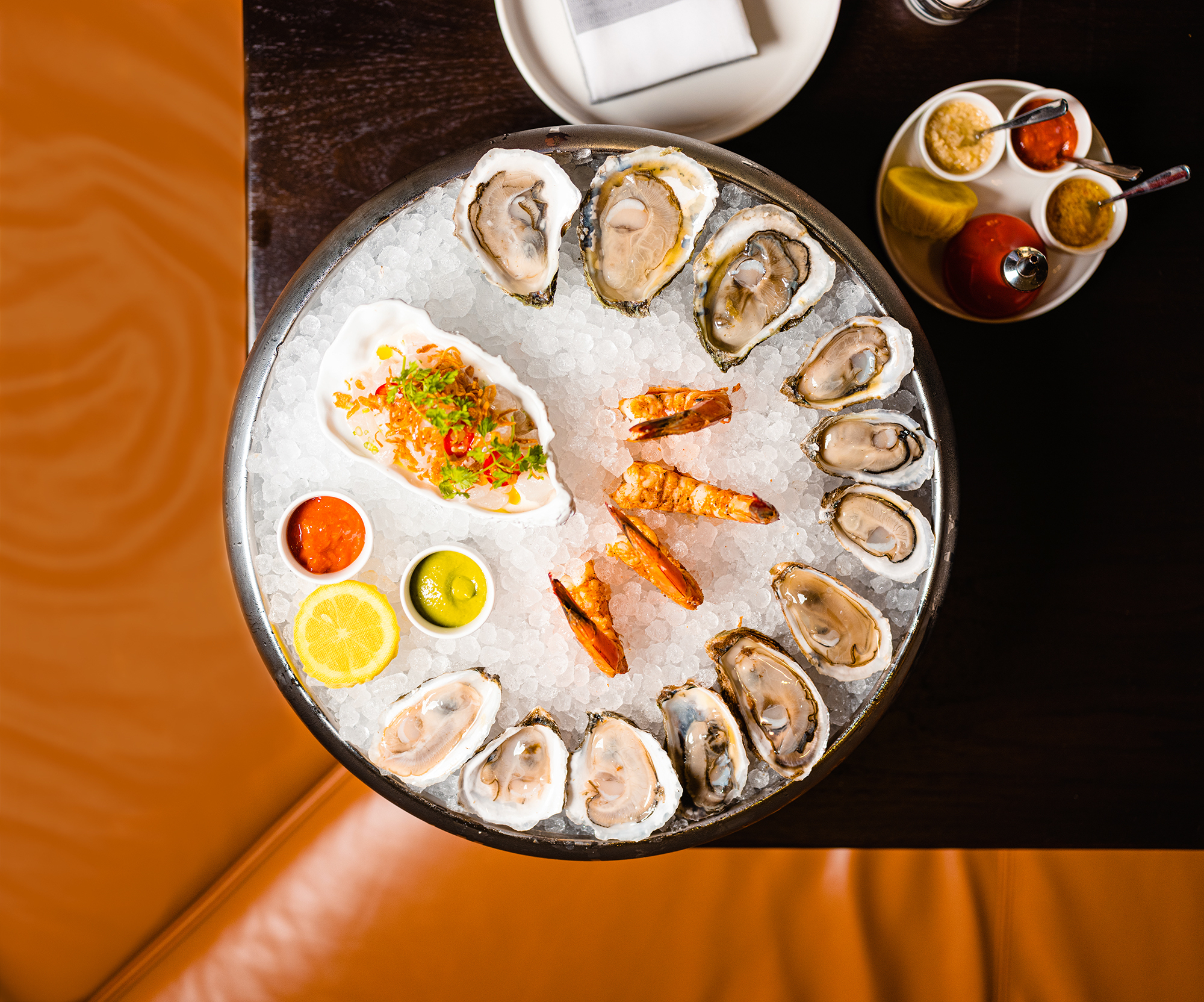 ice platter with oysters