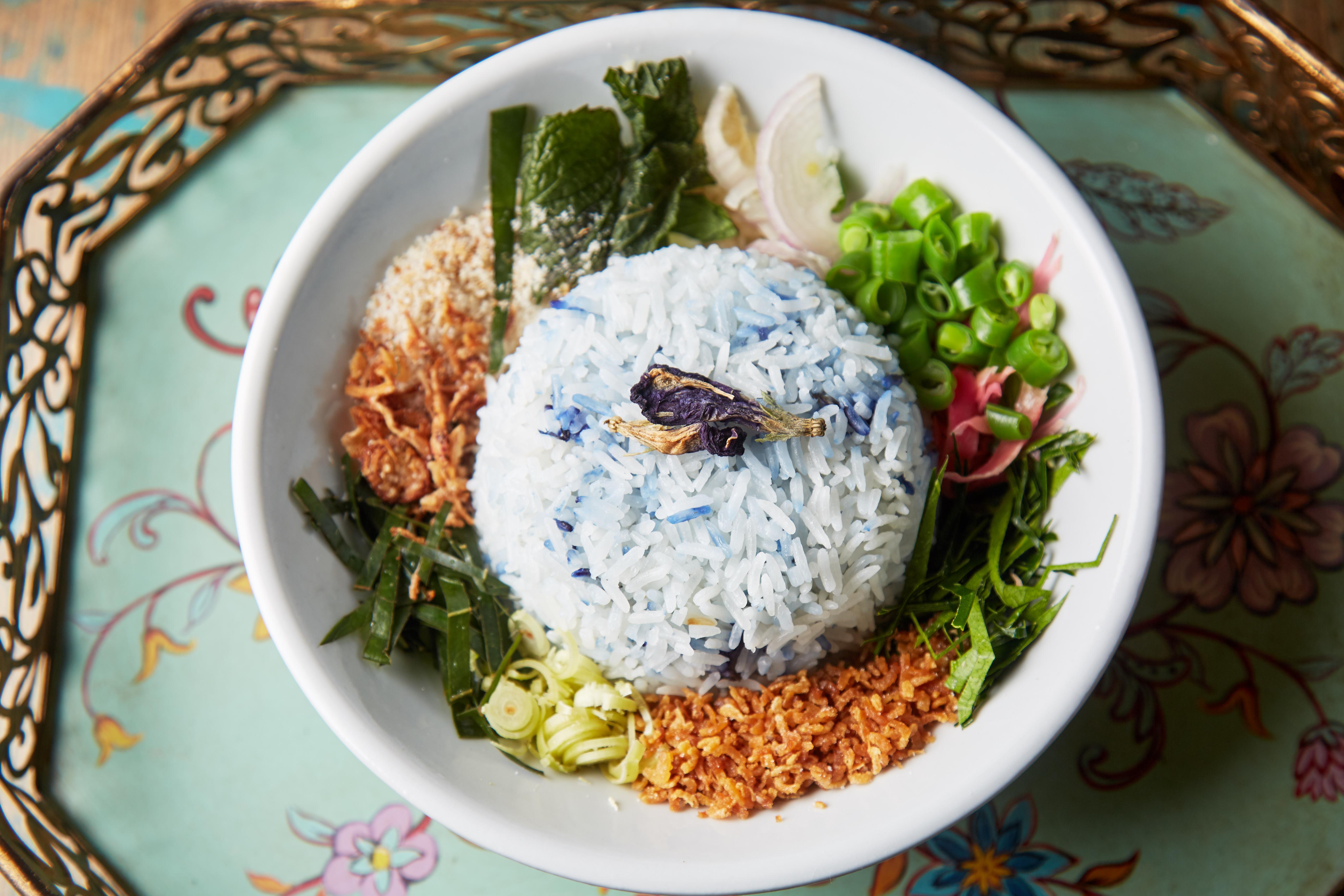 Nasi ulum, Peranakan mixed herb rice with dried shrimp