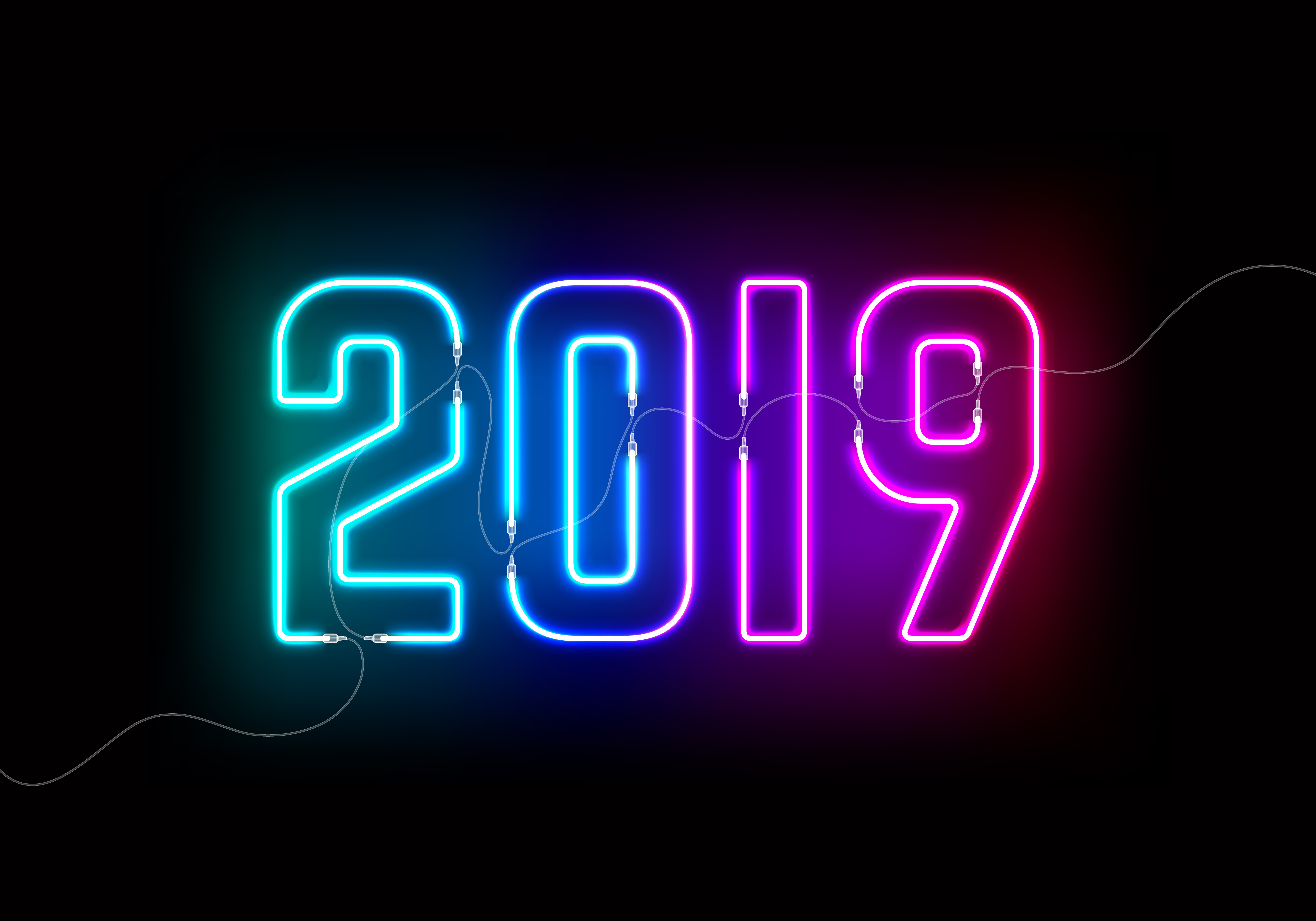 Stock photography of 2019 written in neon lights