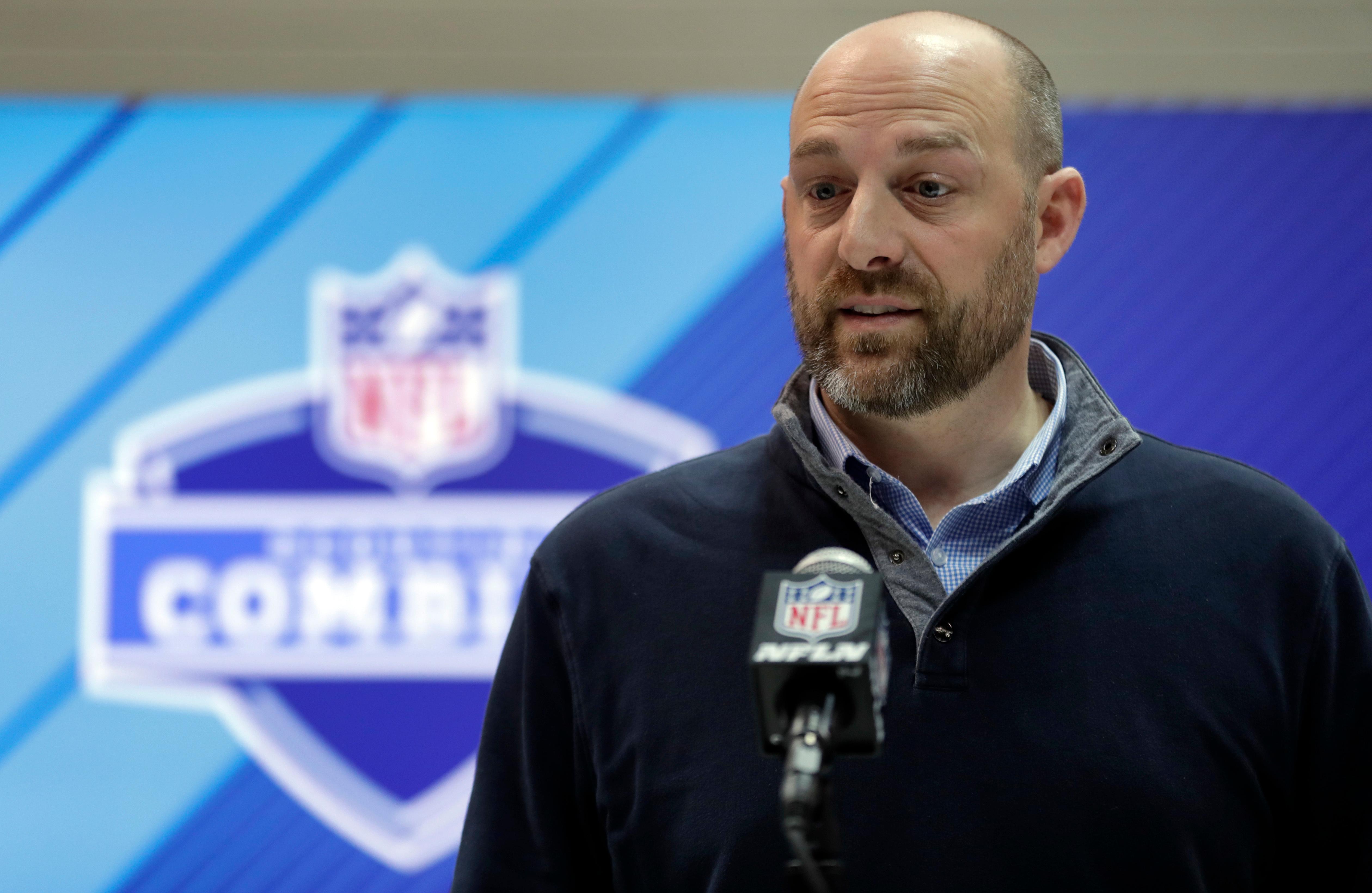 Bears coach Matt Nagy speaks during last year's NFL Combine.