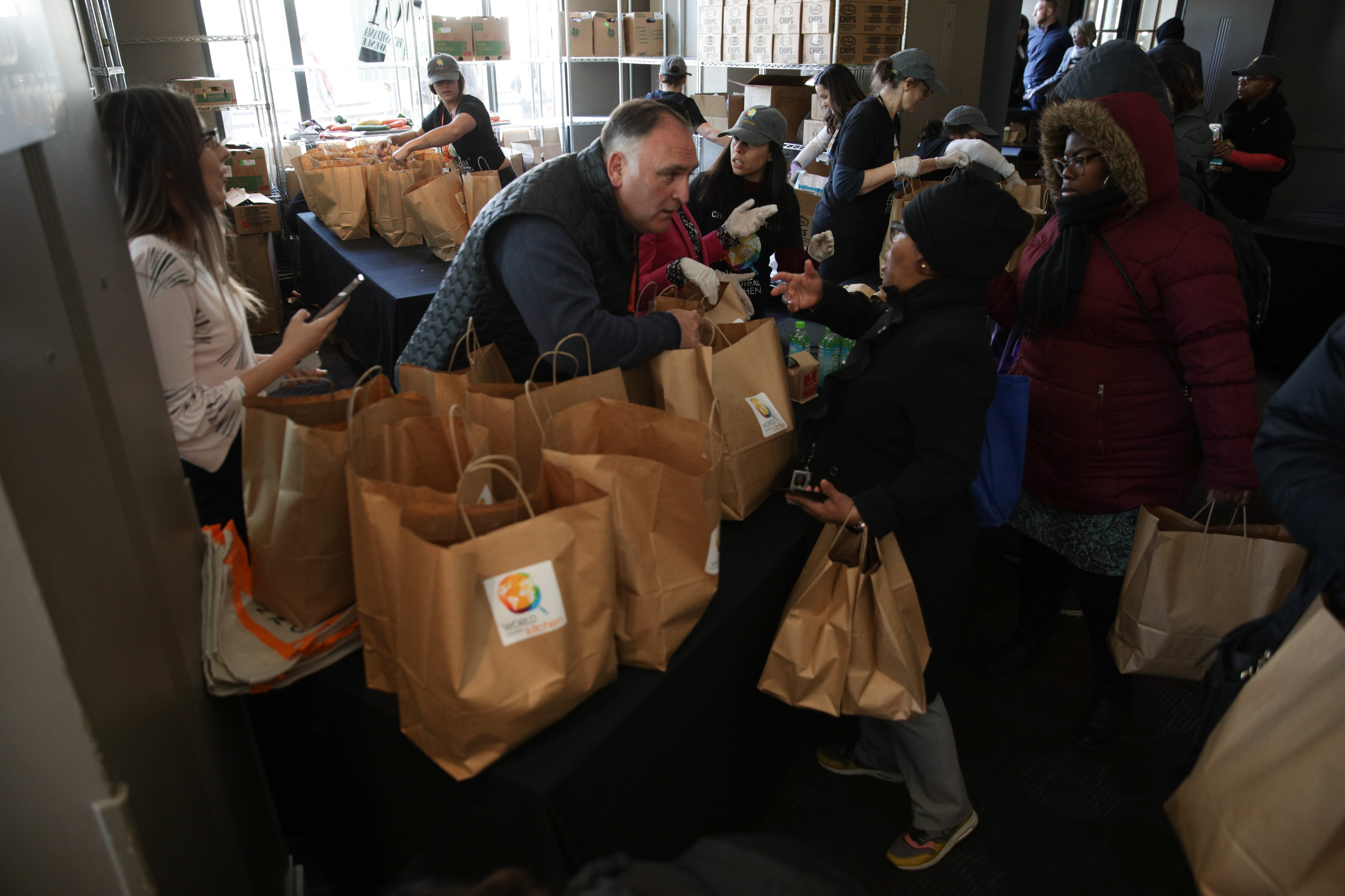 Chef José Andrés helps distribute food to furloughed federal workers in downtown D.C. during the partial government shutdown in January