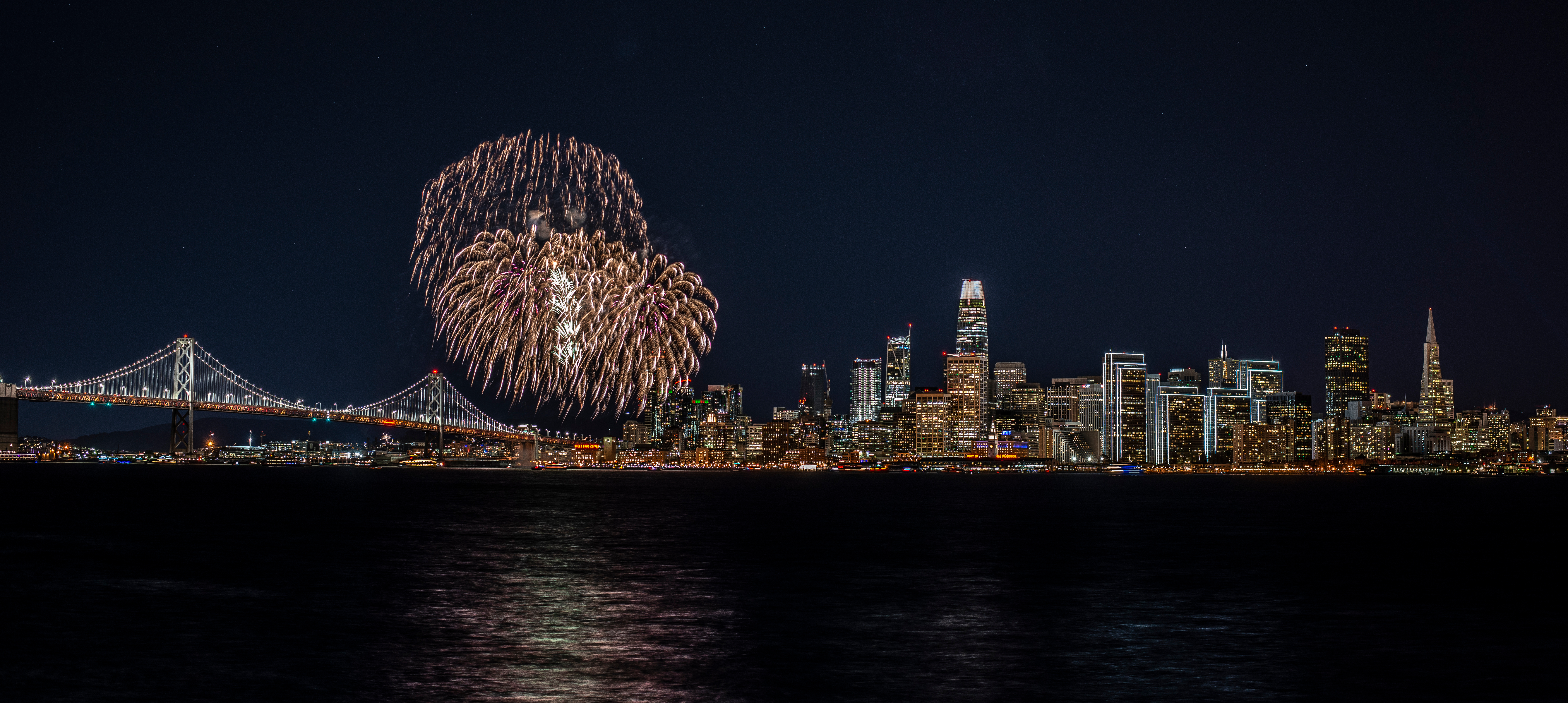 New Year's Day fireworks light up the night sky in San Francisco
