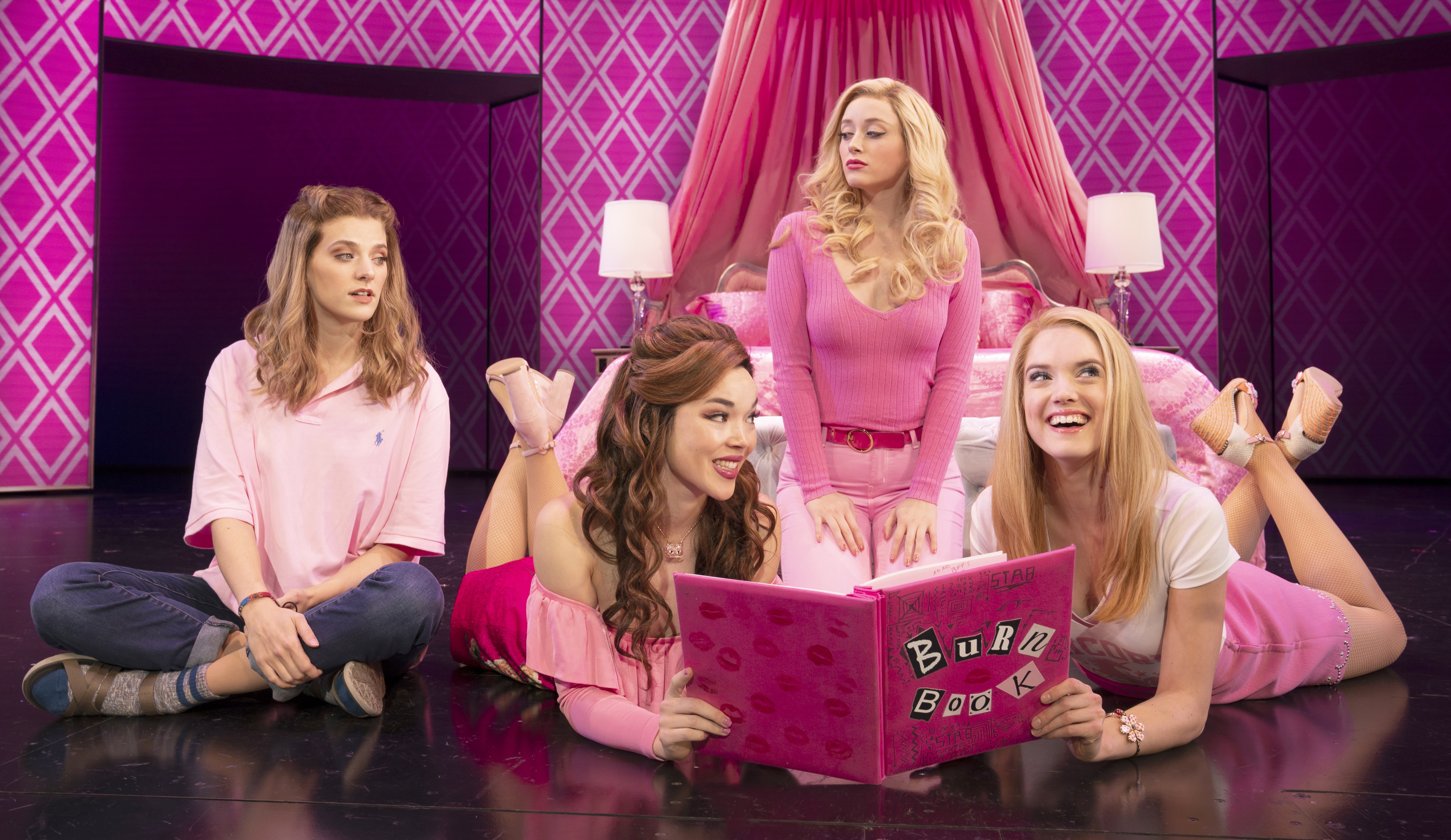 Danielle Wade (Cady Heron), Megan Masako Haley (Gretchen Wieners), Mariah Rose Faith (Regina George), and Jonalyn Saxer (Karen Smith) in the National Touring Company of Mean Girls Credit: © 2019 Joan Marcus