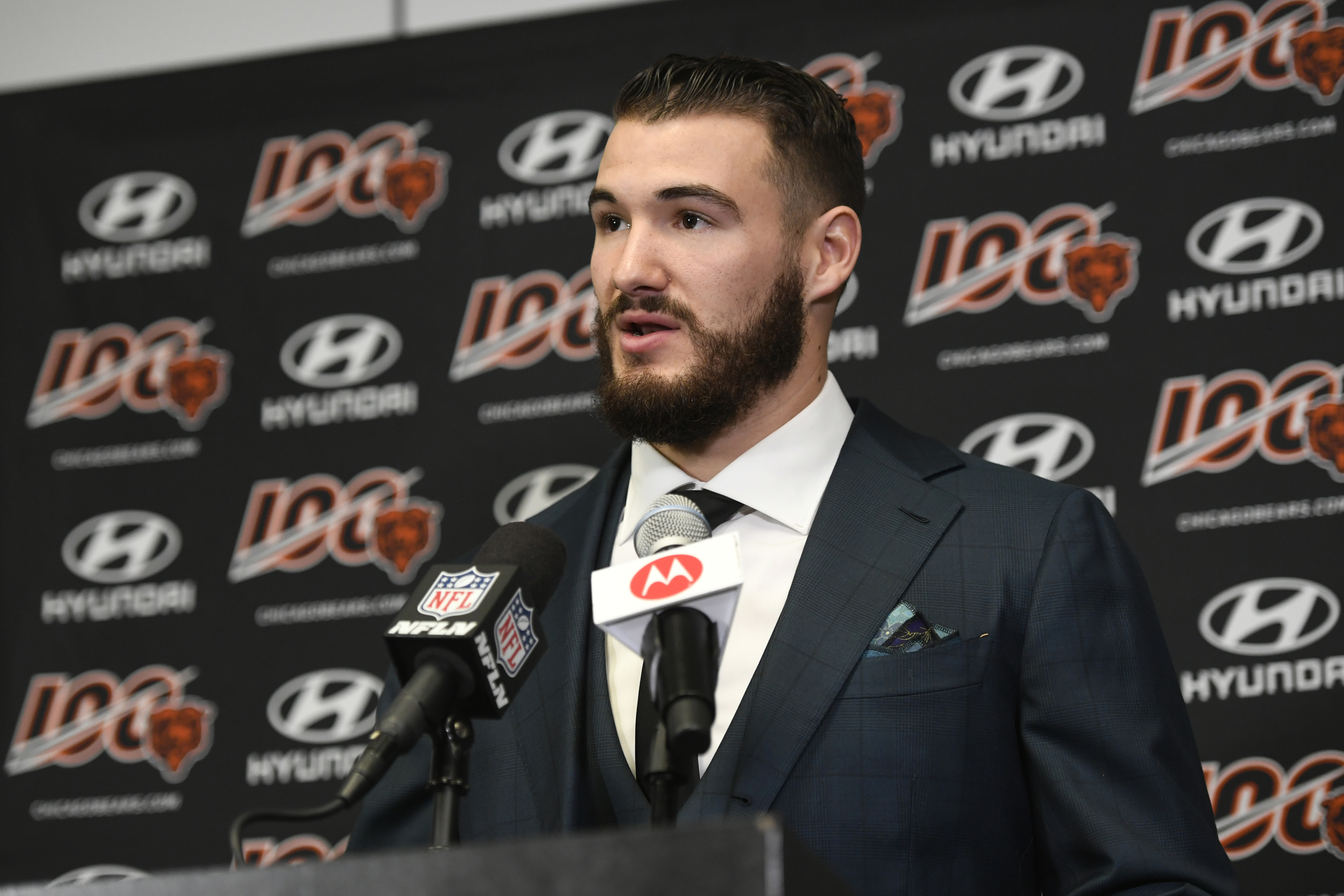 Bears quarterback Mitch Trubisky speaks to reporters after Sunday's win over the Minnesota Vikings.