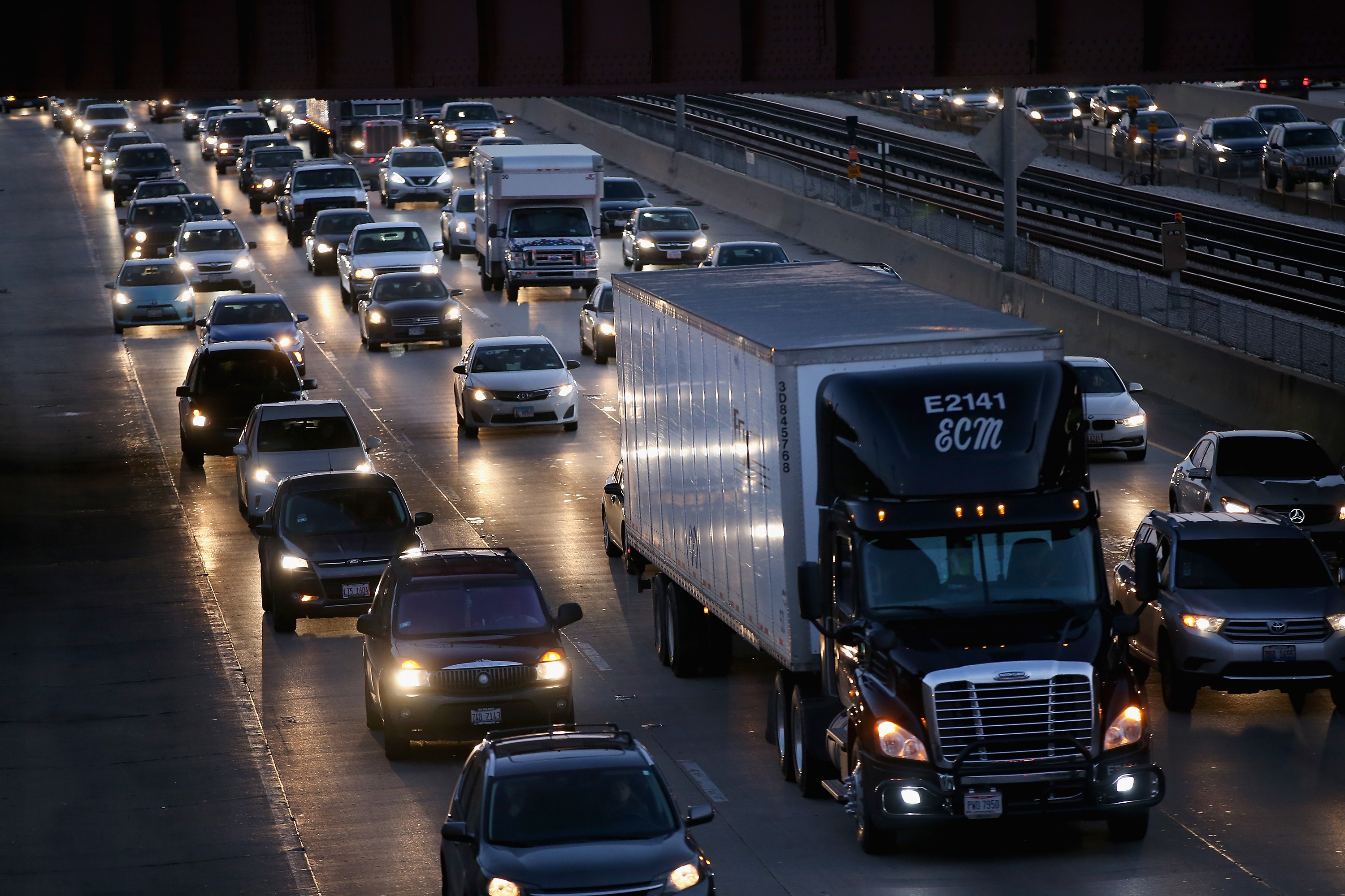 Cars and trucks on a Chicago-area expressway.