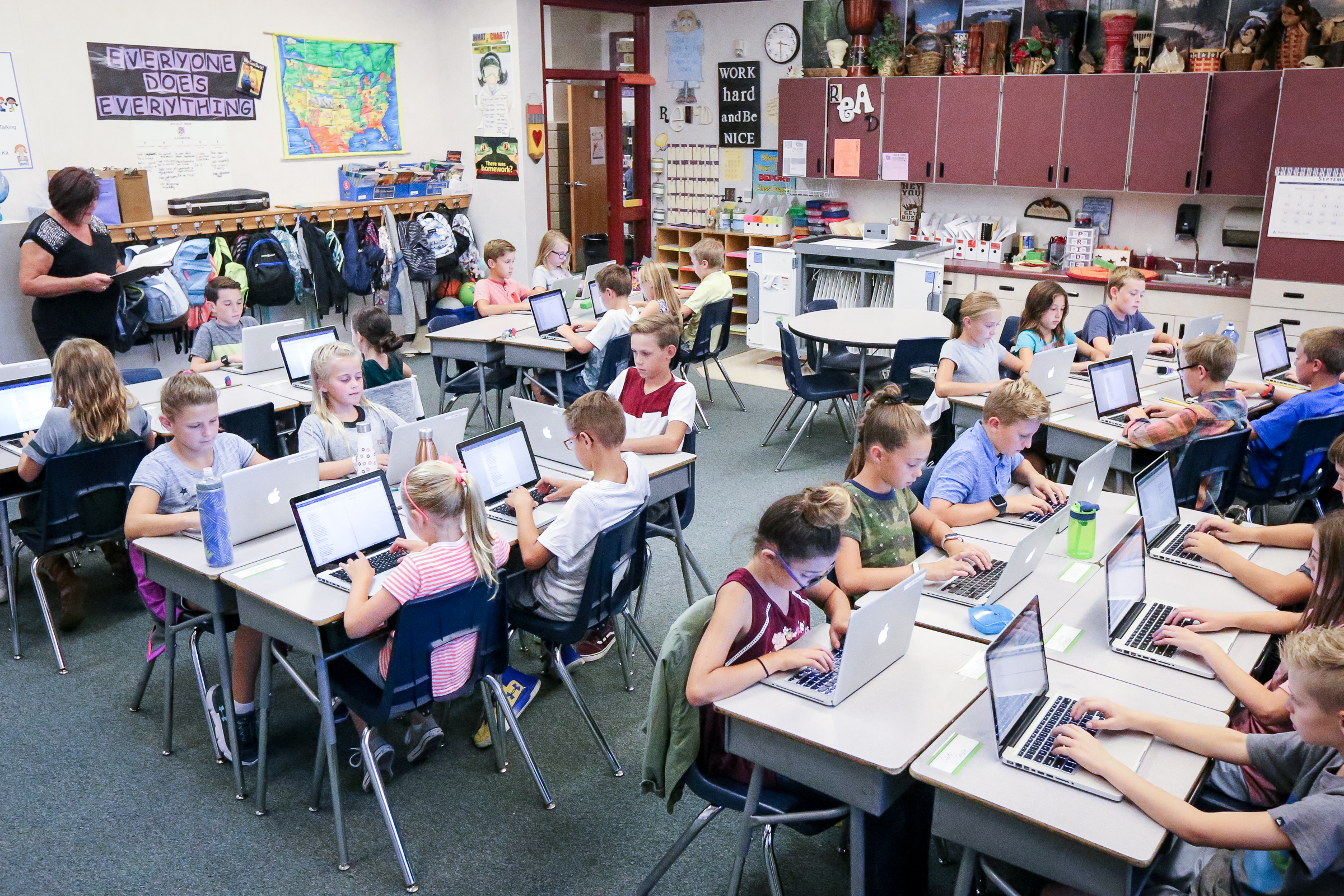 Lyn Wright's class at Willow Springs Elementary in Draper on Monday, Sept. 11, 2017.