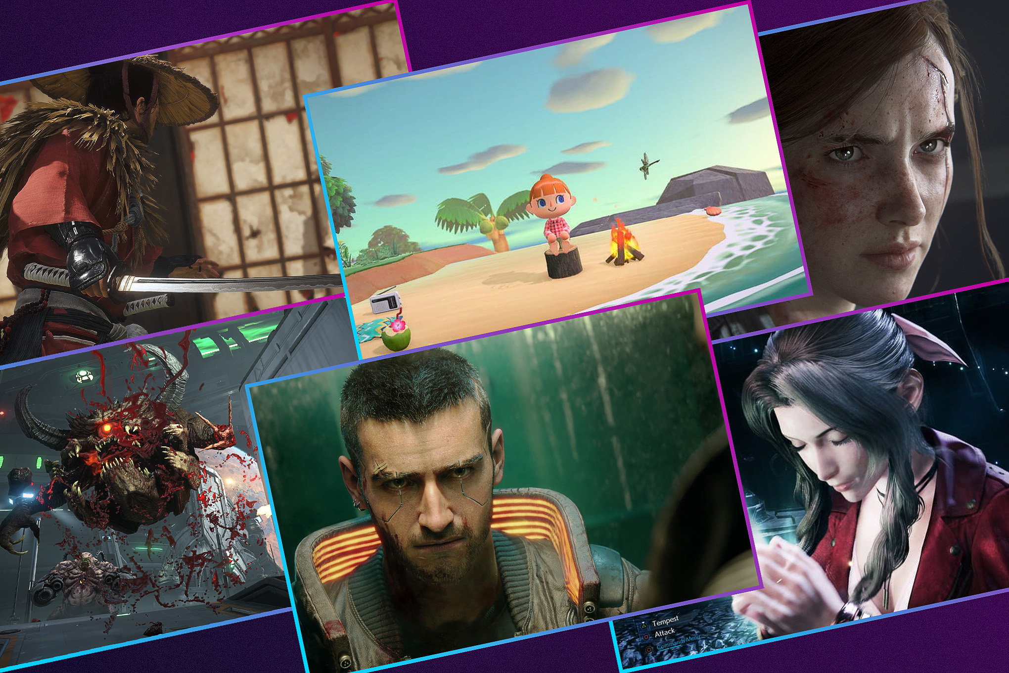 Graphic featuring six images from various games  launching in 2020