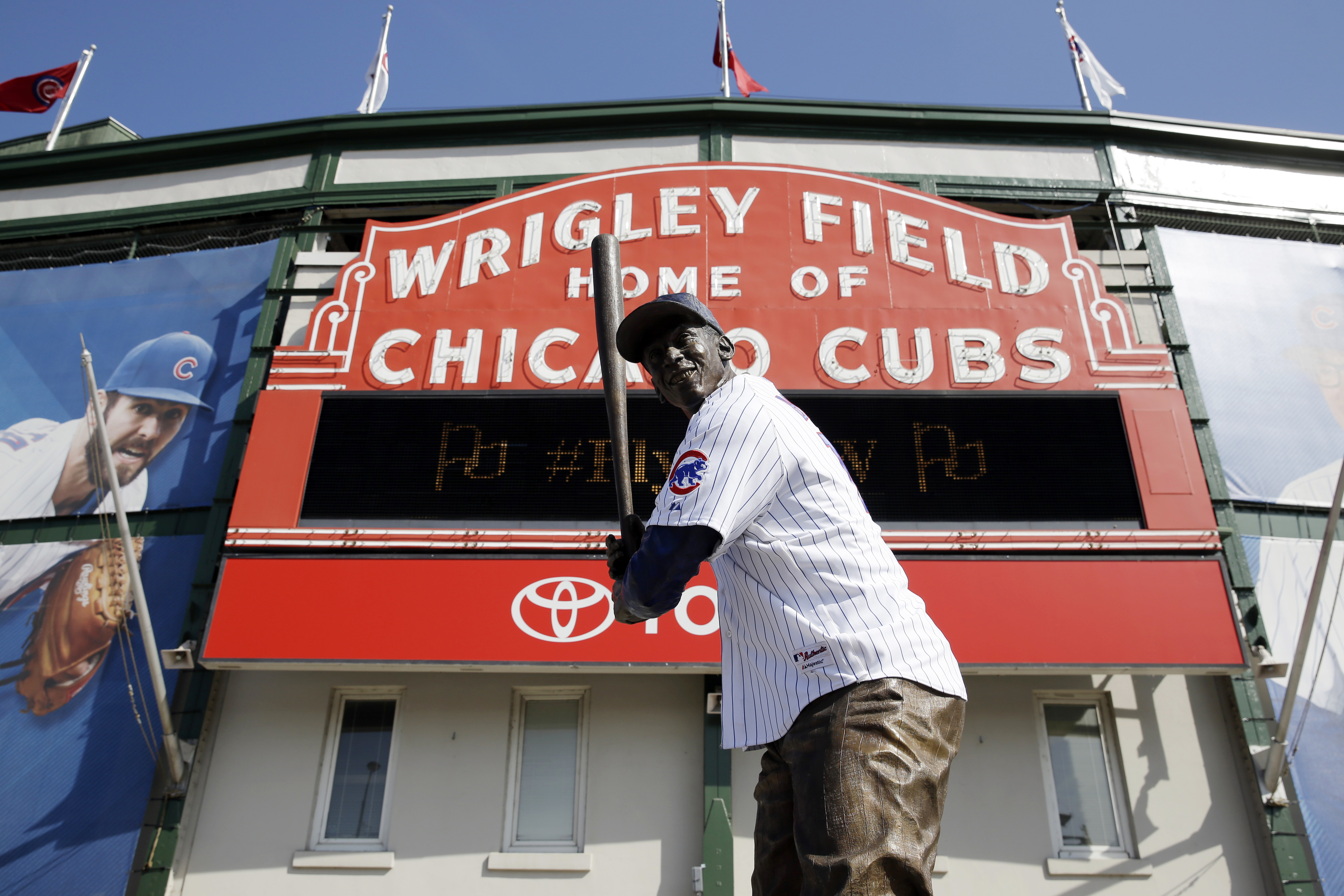 Ernie Banks' statue wears a Chicago Cubs jersey at Wrigley Field in Chicago. Banks is among the notable Chicagoans who died in the past decade.