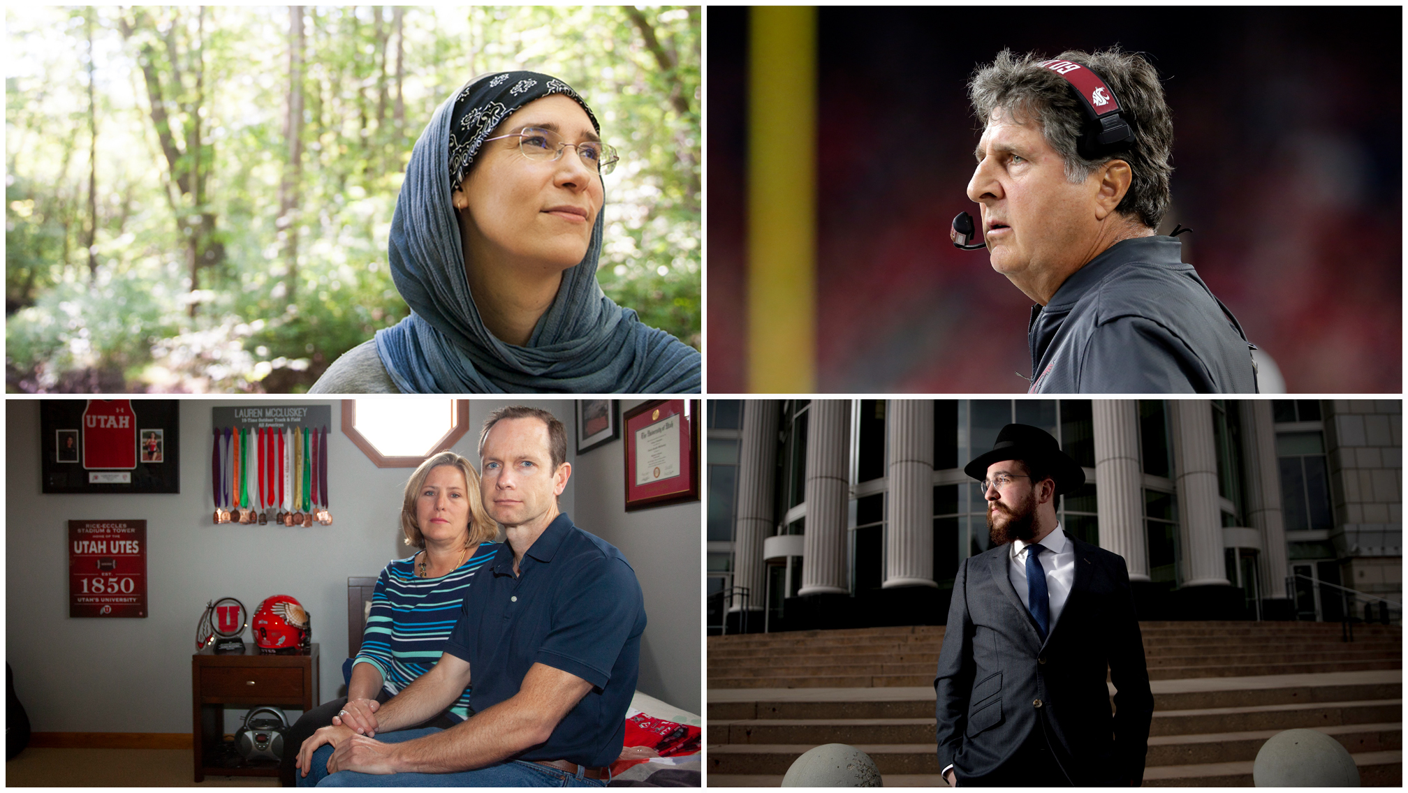 Clockwise from top left, Green Muslims Executive Director Sevim Kalyoncu, Washington State football coach Mike Leach, Rabbi Avremi Zippel, and Matt and Jill McCluskey share their New Year's resolutions with the Deseret News.