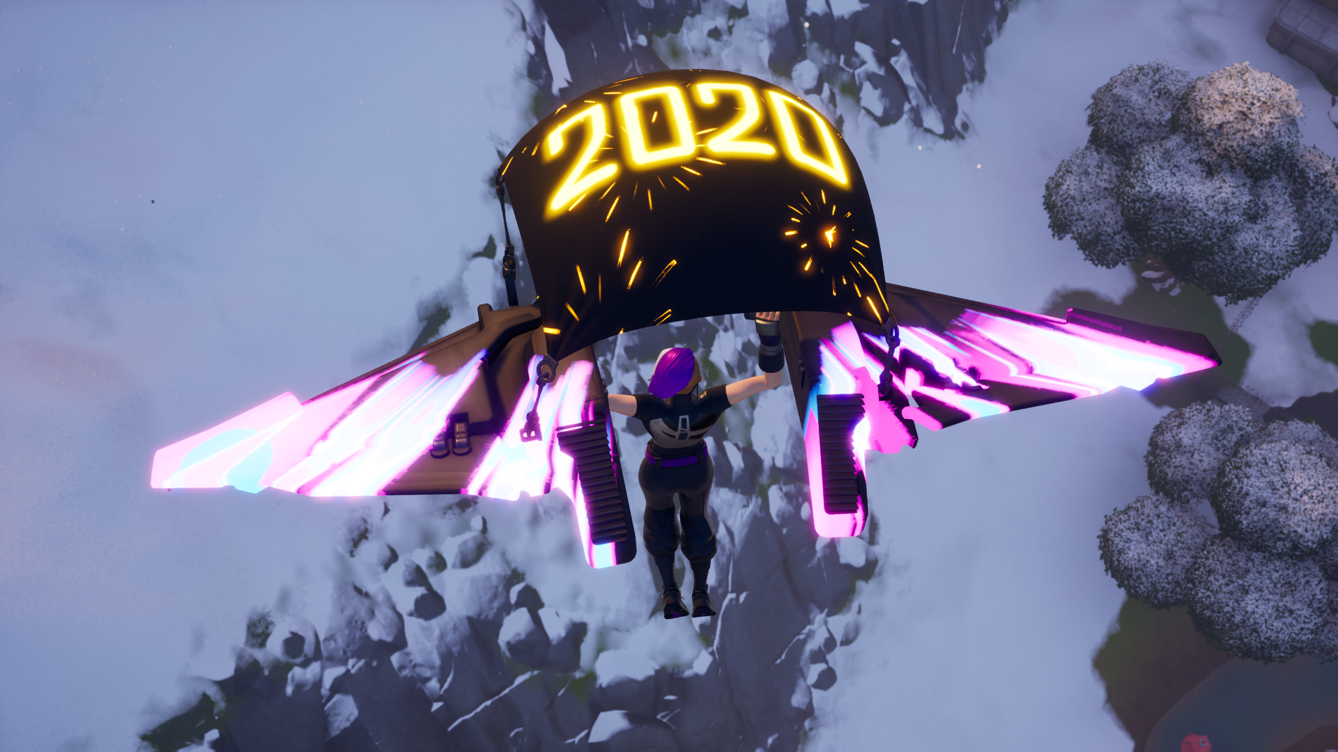 a Fortnite player flies into a game with Fortnite's 2020 New Years glider