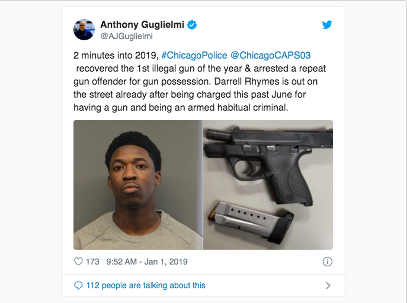 Darrell Rhyme's New Year's Day 2019 arrest attracted wide coverage after the Chicago police paraded him as a symbol of the city's gun problems.