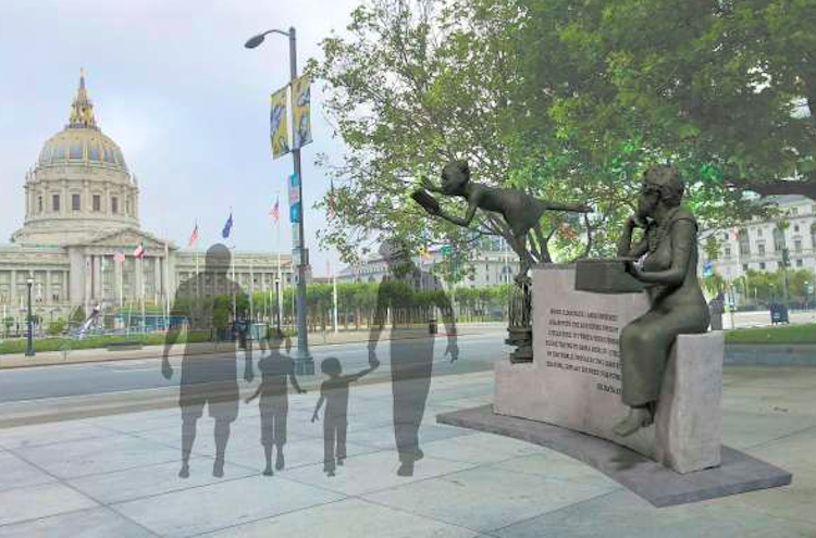A rendering of a statue depicting two figures, one a young girl with a book and the other an older woman with a typewriter.