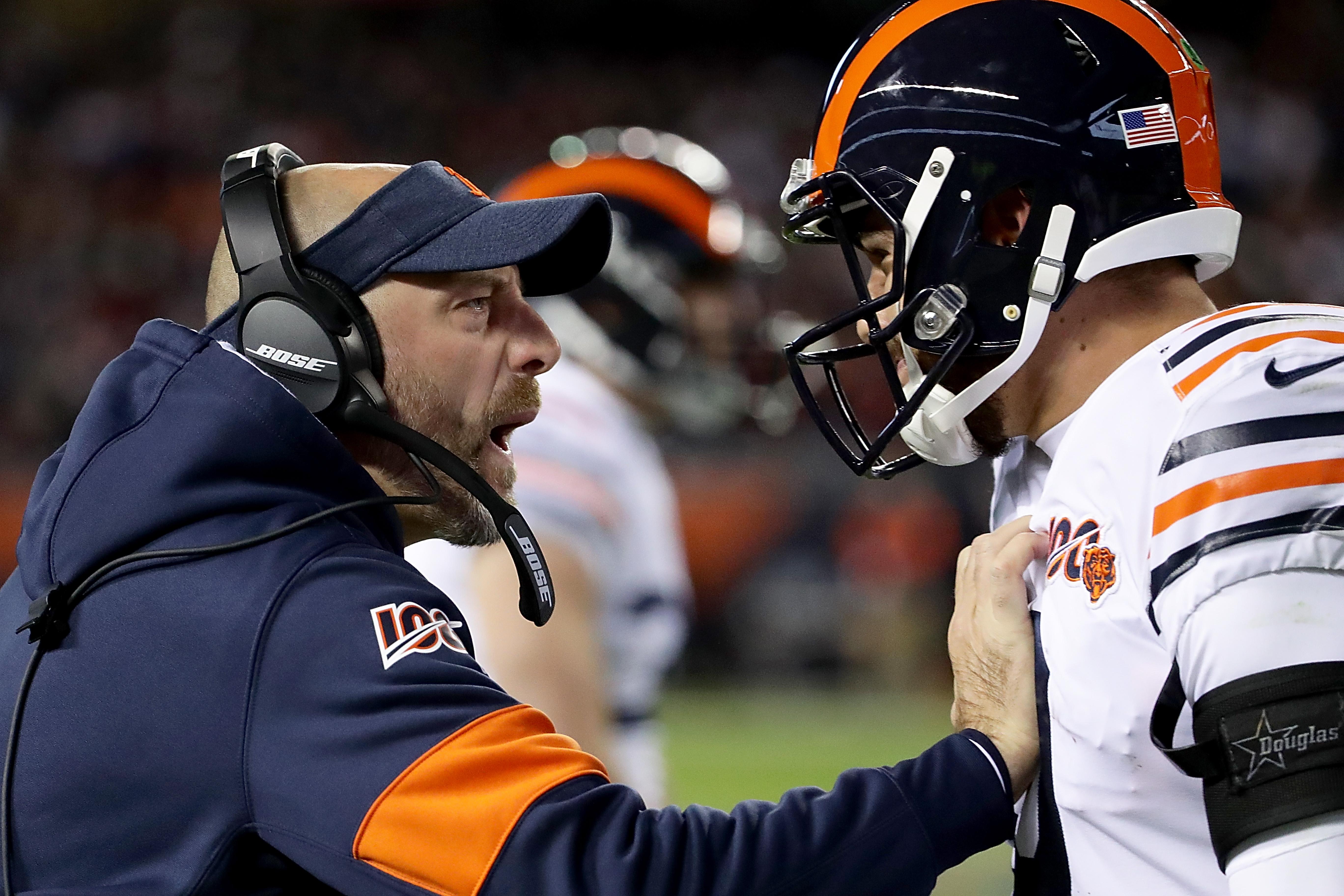 Both Bears coach Matt Nagy (left) and quarterback Mitch Trubisky need big games in the last three weeks of the season.