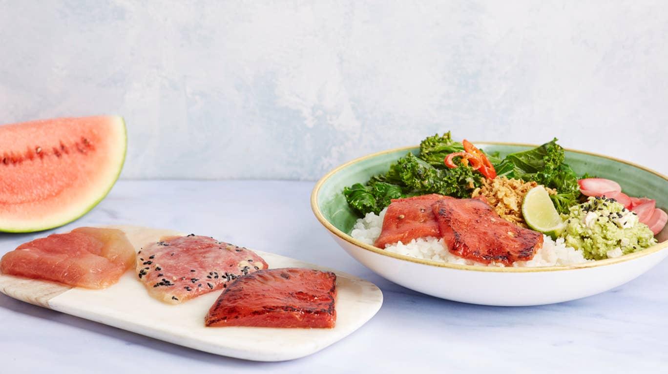 Wagamama's vegan watermelon tuna, served with rice