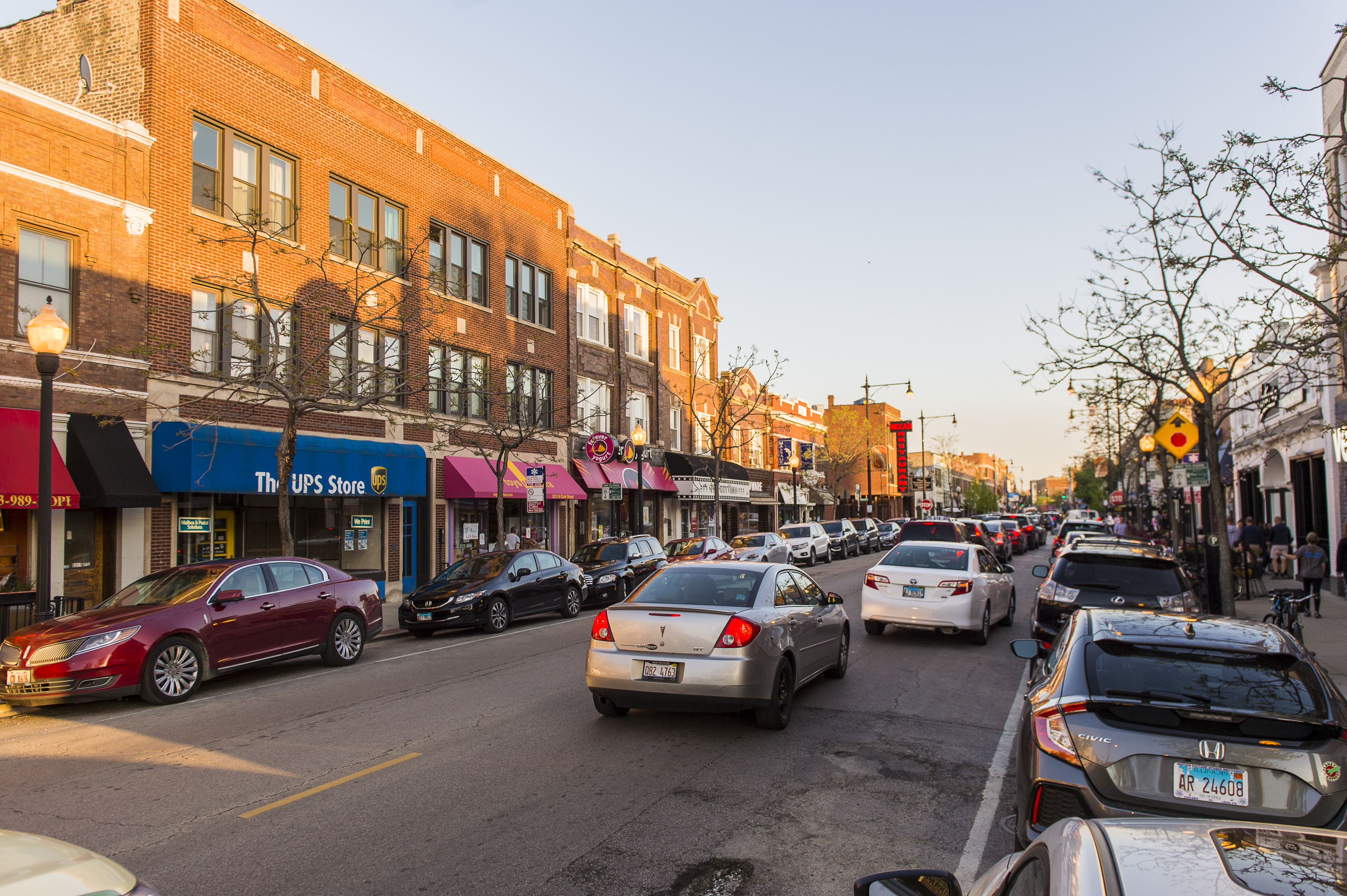 Shops line busy North Clark Street, one of the main drags in Andersonville, where downzoning is common.