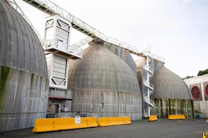 Large, domed metal tanks at an SF water treatment plant.