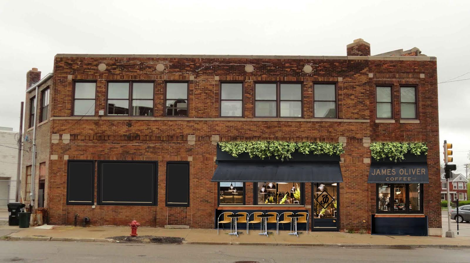 An architectural rendering of the planned James Oliver Coffee Shop on Gratiot Avenue, in a former industrial building.