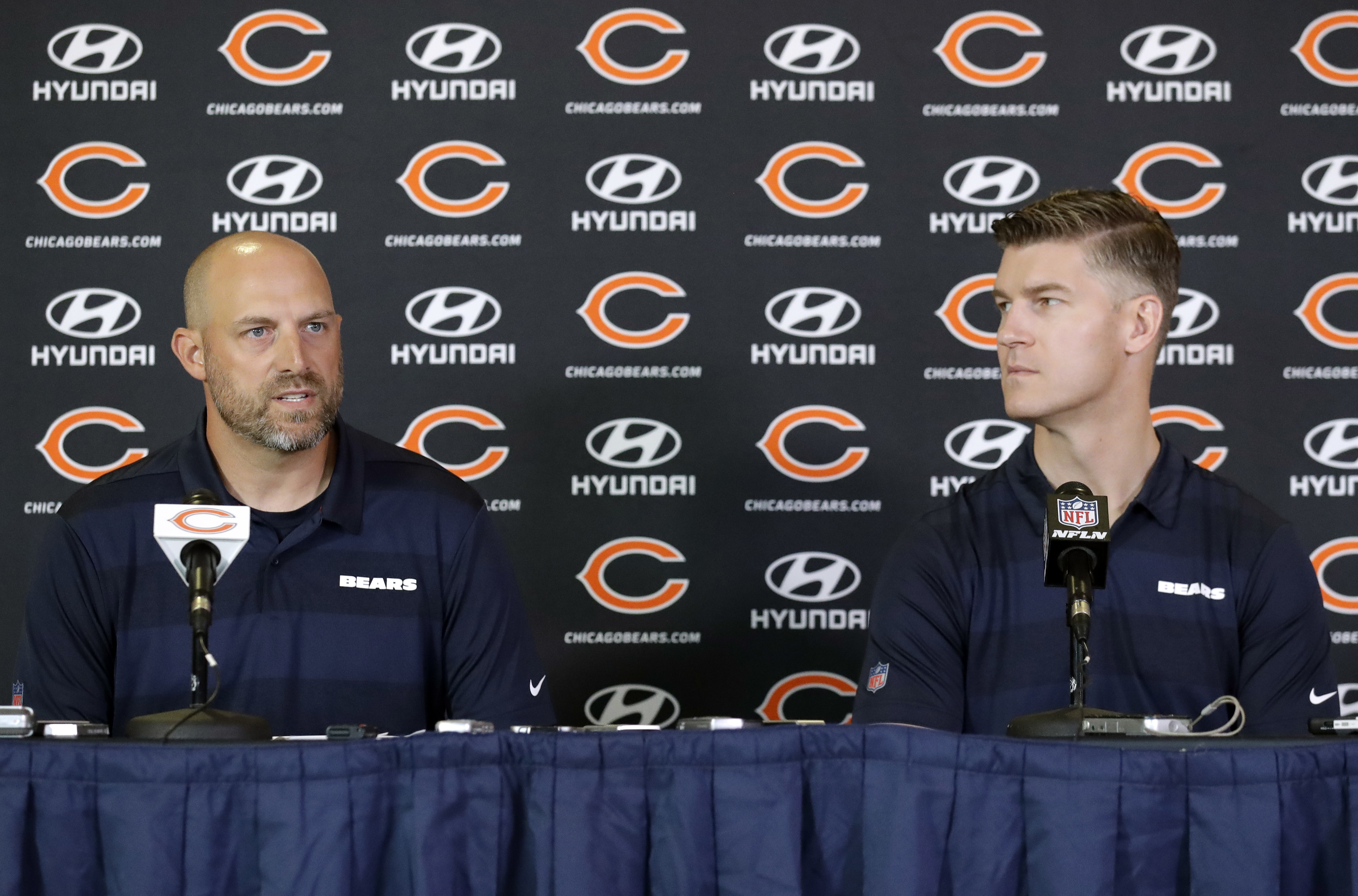 Bears coach Matt Nagy (left) and general manager Ryan Pace have been entertaining in their own exasperating way.