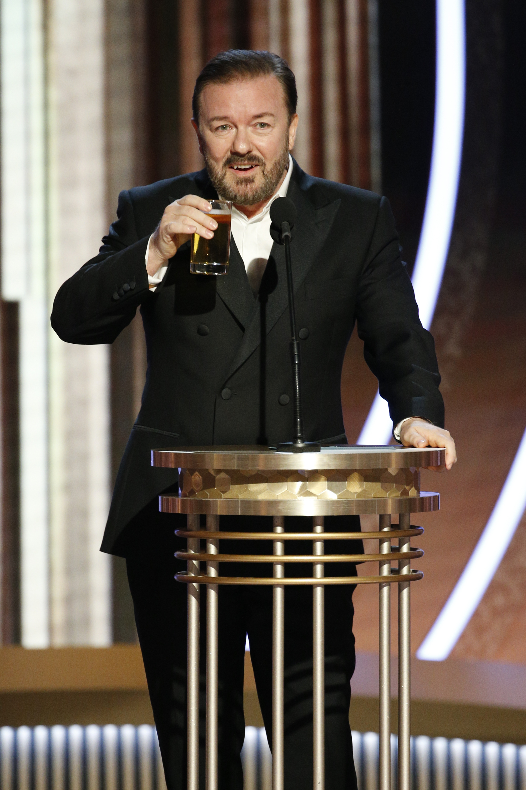 Ricky Gervais at the 2020 Golden Globes.