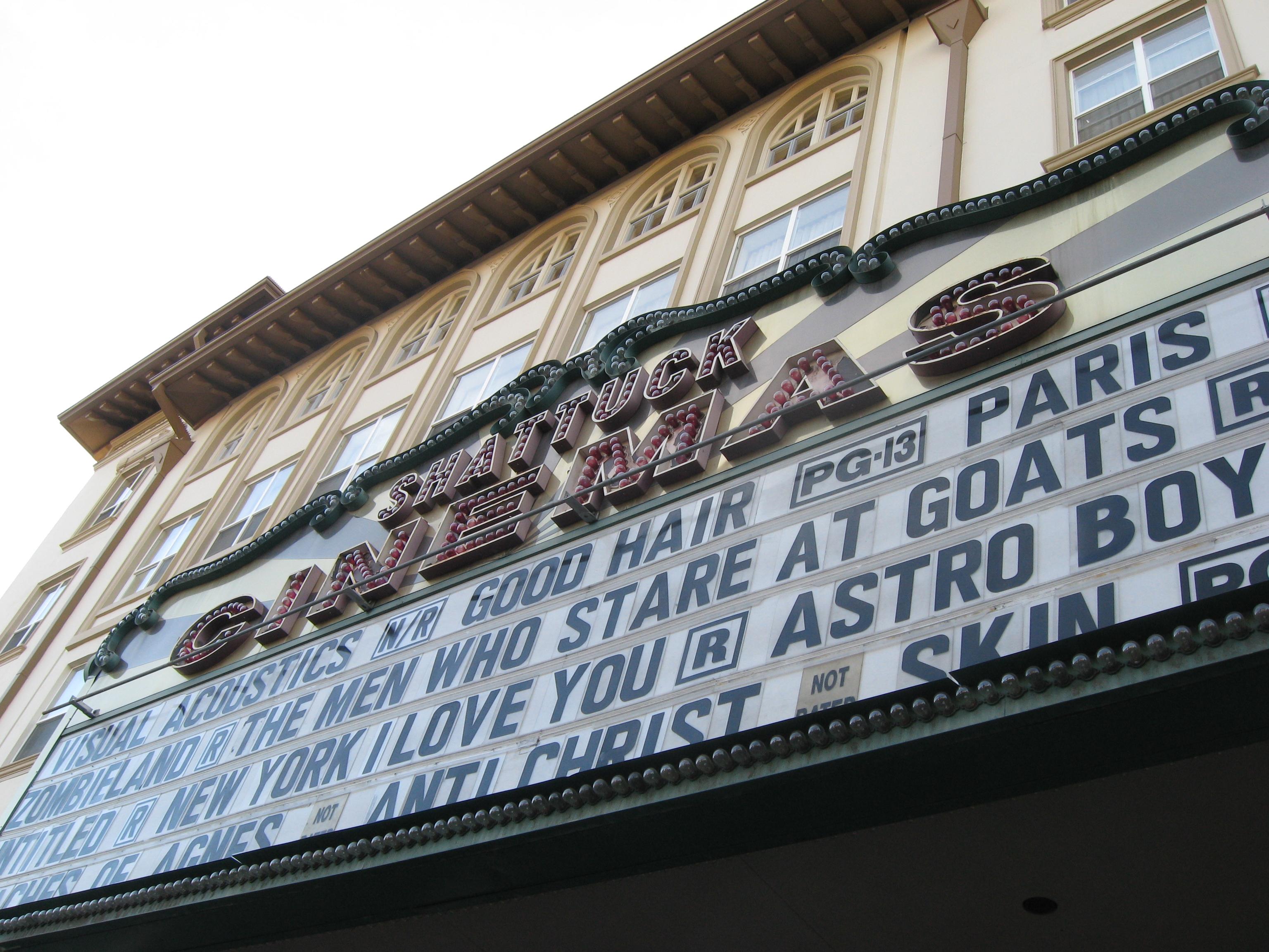 A movie marquee.