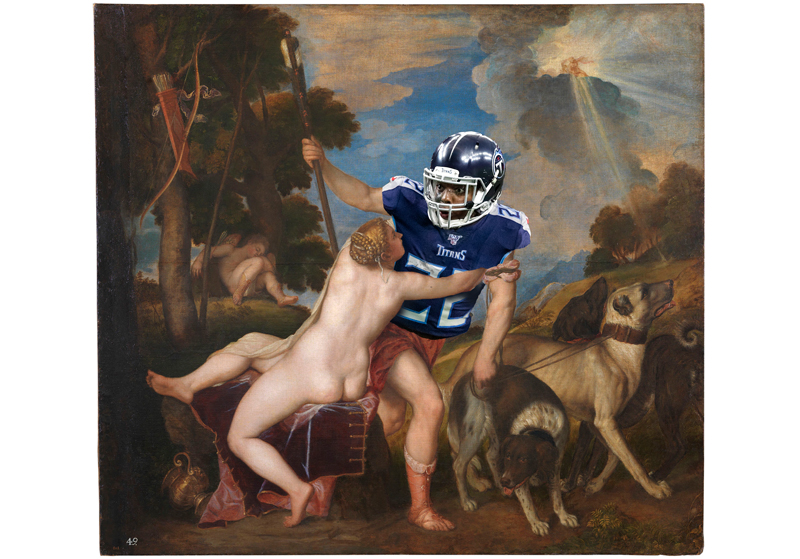 """Titian's """"Venus and Adonis"""", with Adonis replaced by Tennessee Titans running back Derrick Henry"""
