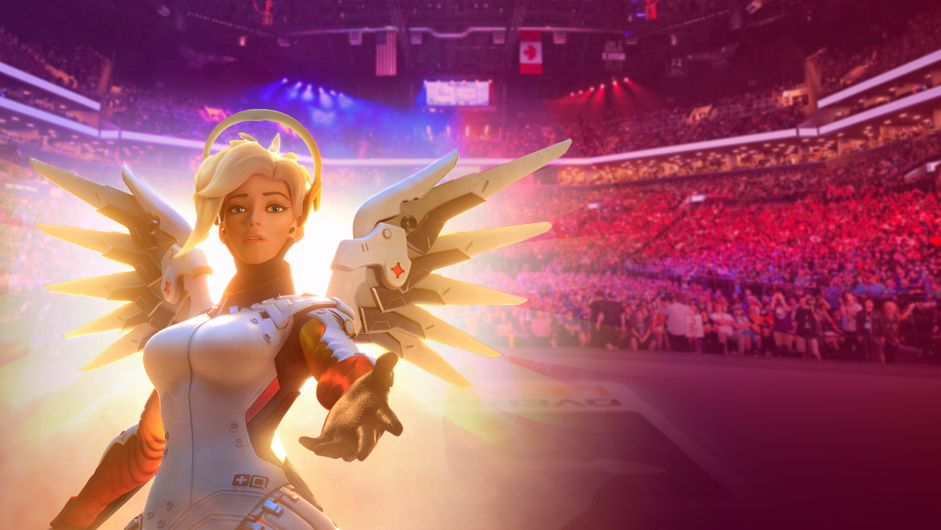 Mercy extending her hand, set against the background of an Overwatch League stadium audience.