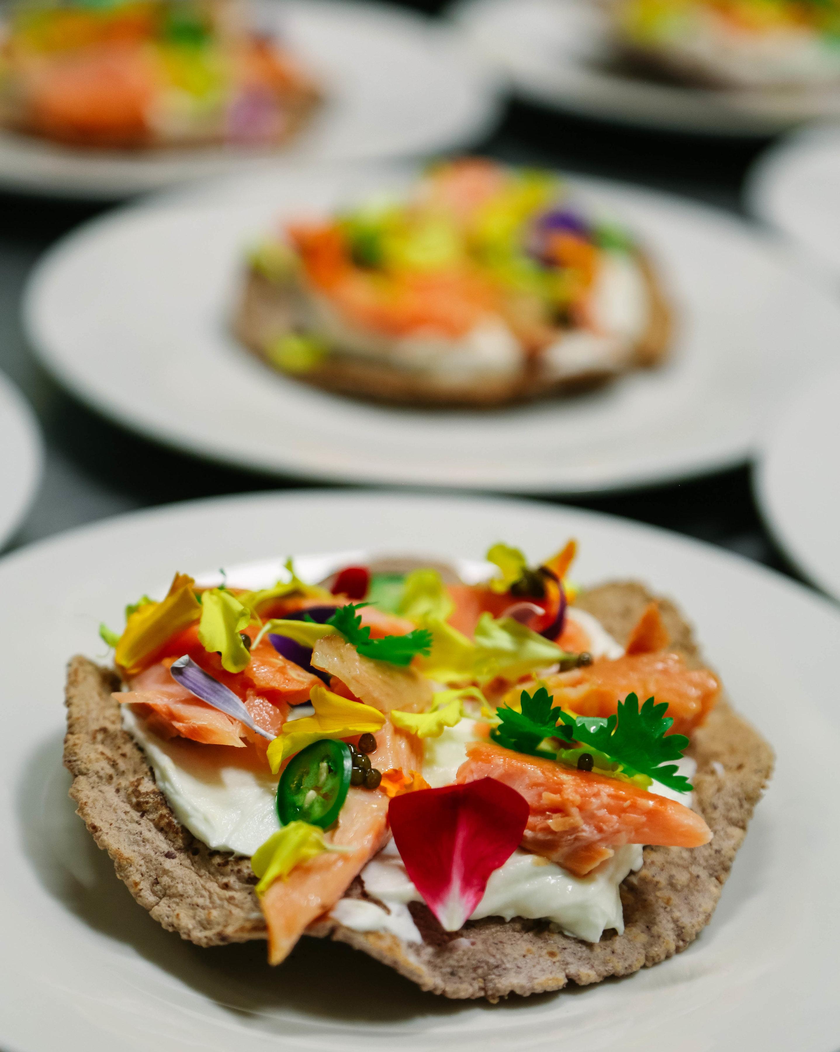 A colorful tostada from Amparo Fondita