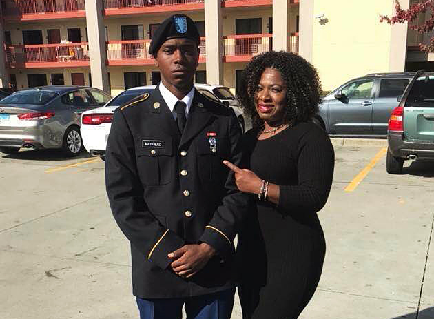 Army Specialist Henry Mayfield Jr. with his mother Carmoneta Horton-Mayfield. | Facebook