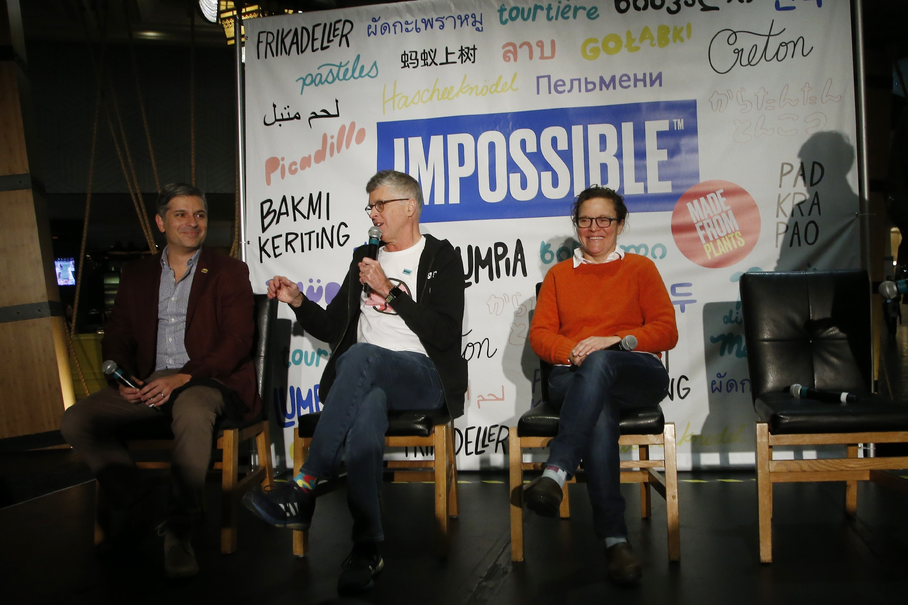 Dr. Patrick Brown (center), founder and CEO of Impossible Foods, the California plant-based meat company, unveils Impossible Pork and Impossible Sausage alongside Burger King CMO Fernando Machado (left) and chef and restaurant owner Traci Des Jardins at the CES tech show in Las Vegas.