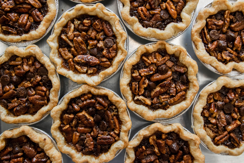 Ten mini chocolate bourbon pecan pies from Crave Pie in Alpharetta, GA