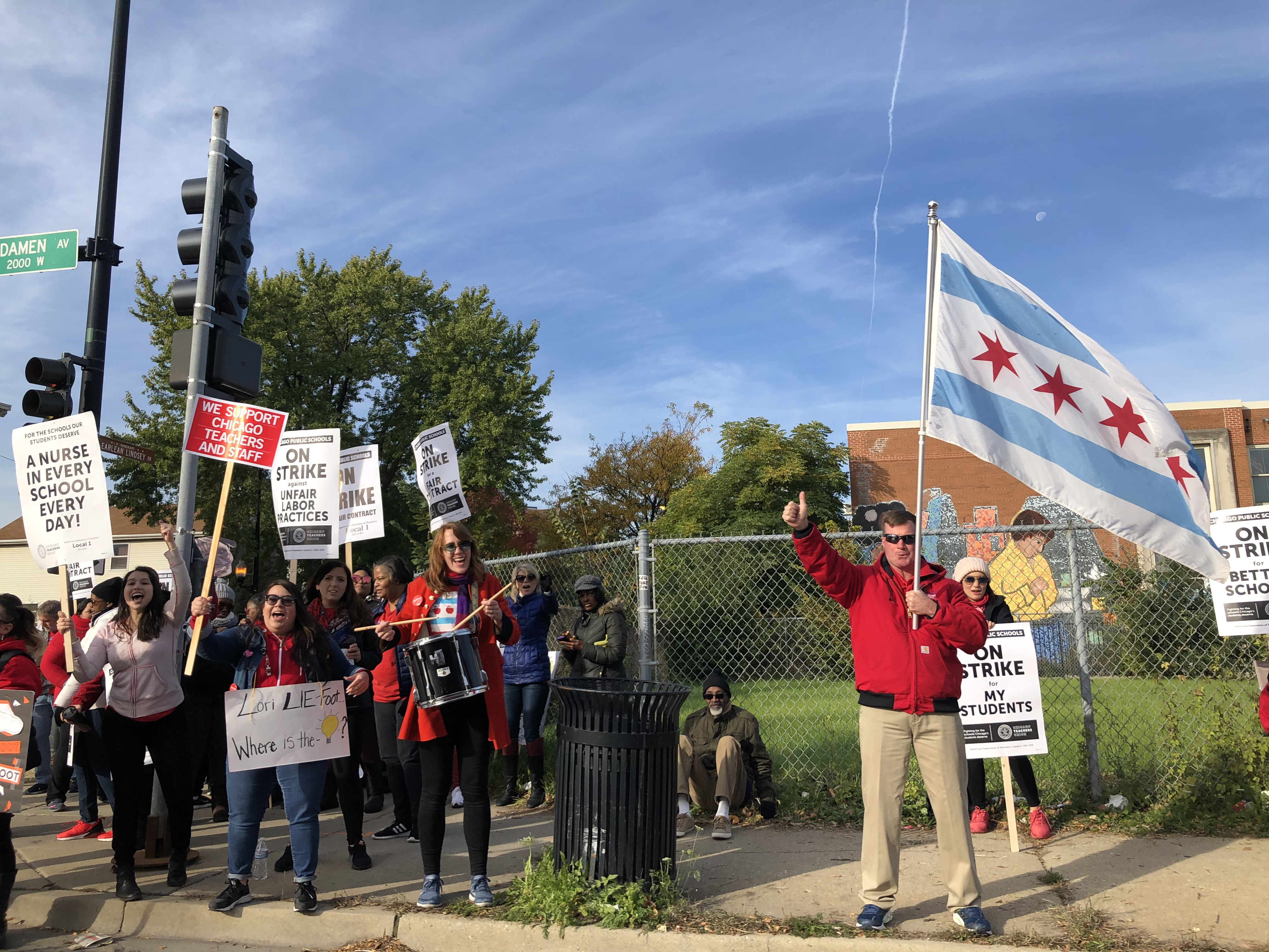 Teachers protesting at Suder Montessori  Elementary Magnet School on the second day of the Chicago teacher strike in October.
