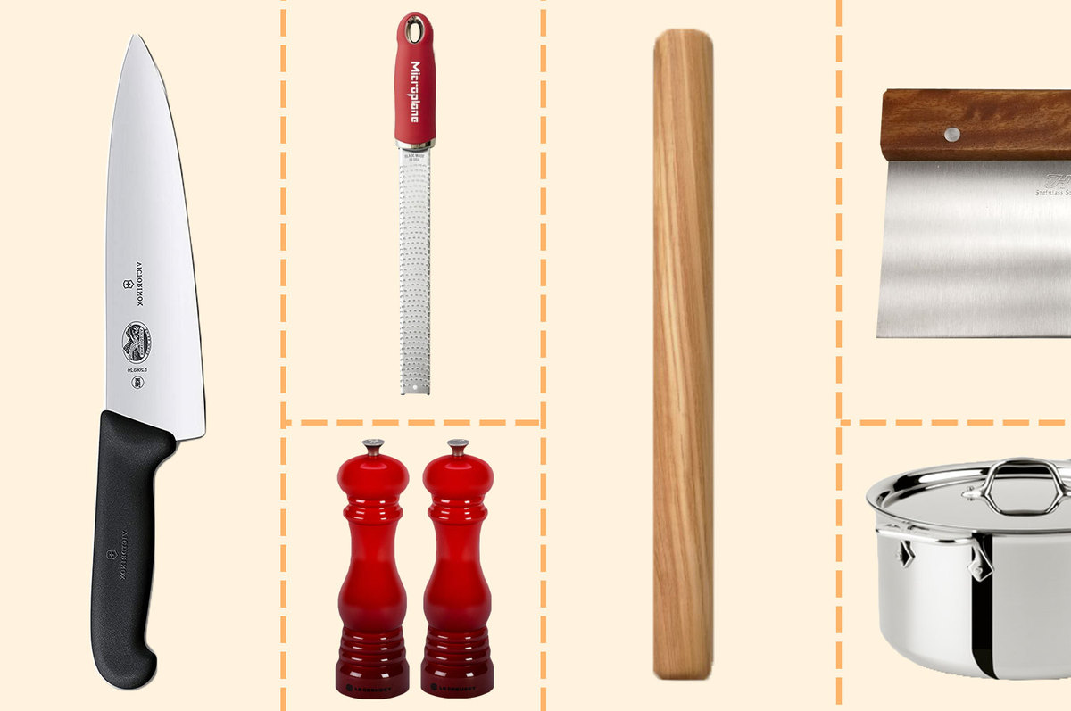 A collage of tools to make pasta, including a knife, rolling pin, microplane, salt and pepper shakers, pot, and dough scraper