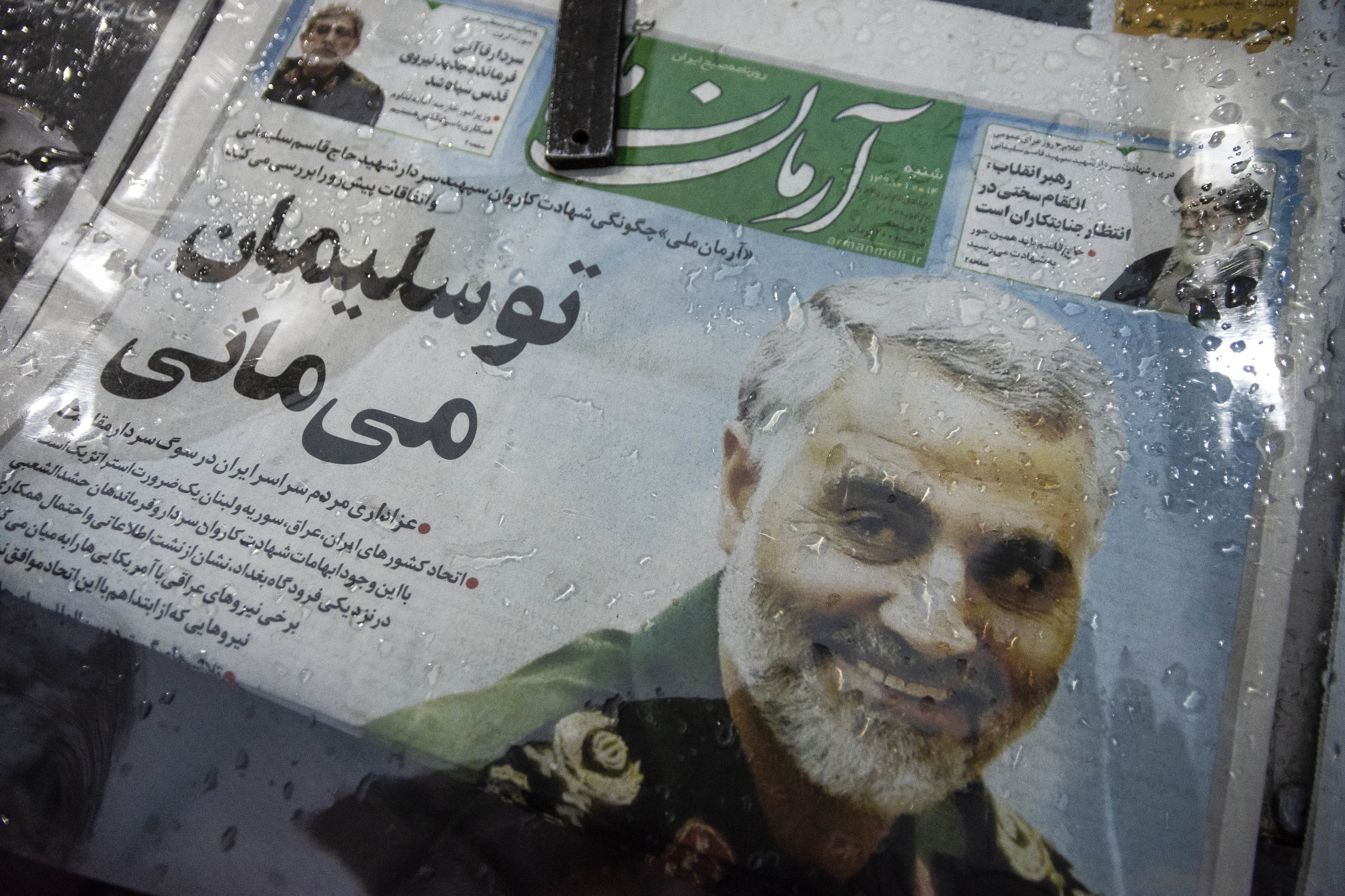 Image of General Qasem Soleimani on newspaper front page.
